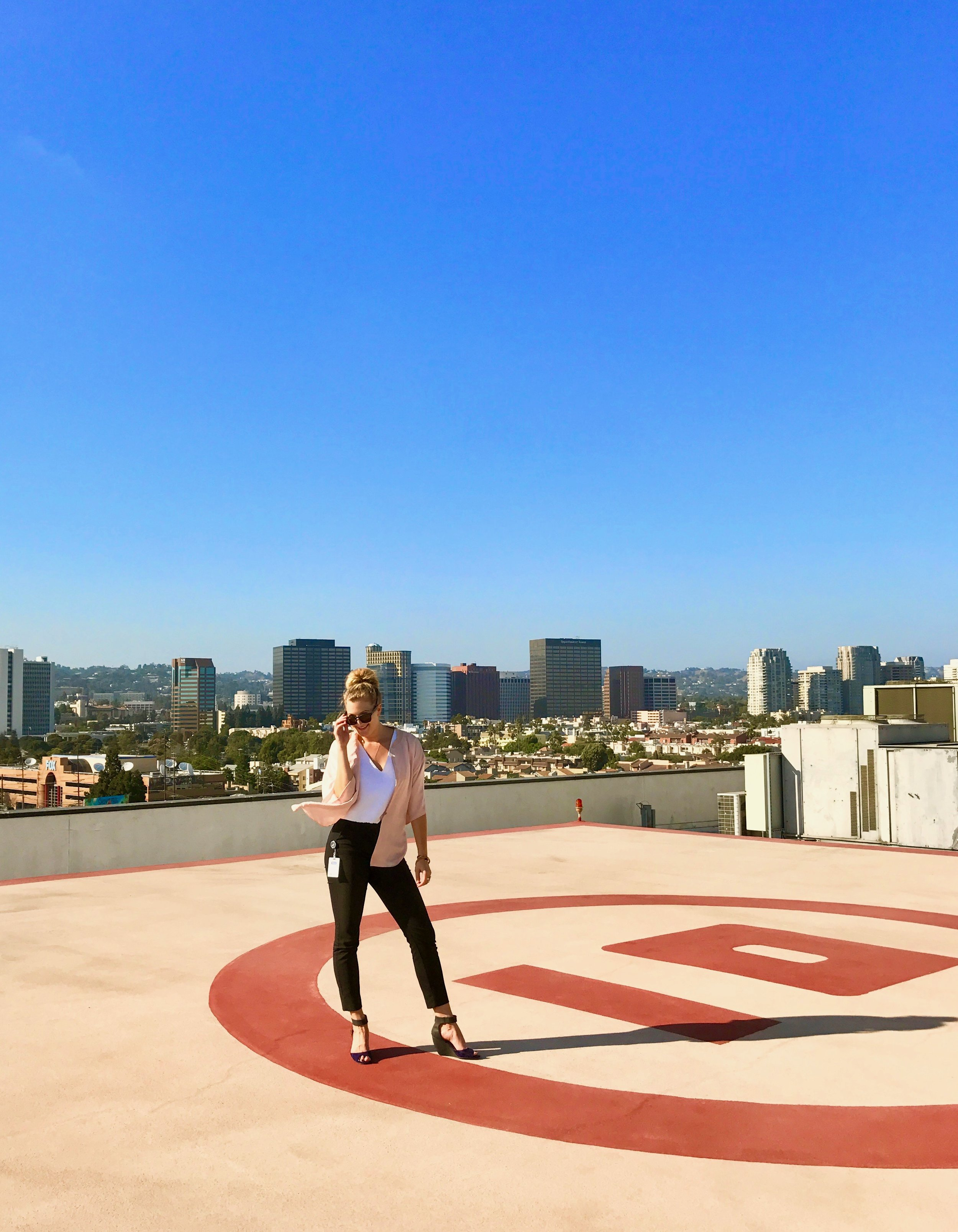 Impromptu photoshoot atop the PMC helipad. A final wave goodbye to my life in Los Angeles.