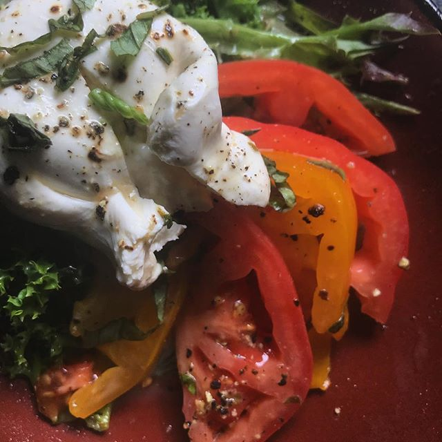 Fruits of the season 🍅🧀🌿 #burrata #caprese #heirloom #tomatoeverything #smallplates #appalachiaeats #cheeseplease #deckdining @martingallowaycec