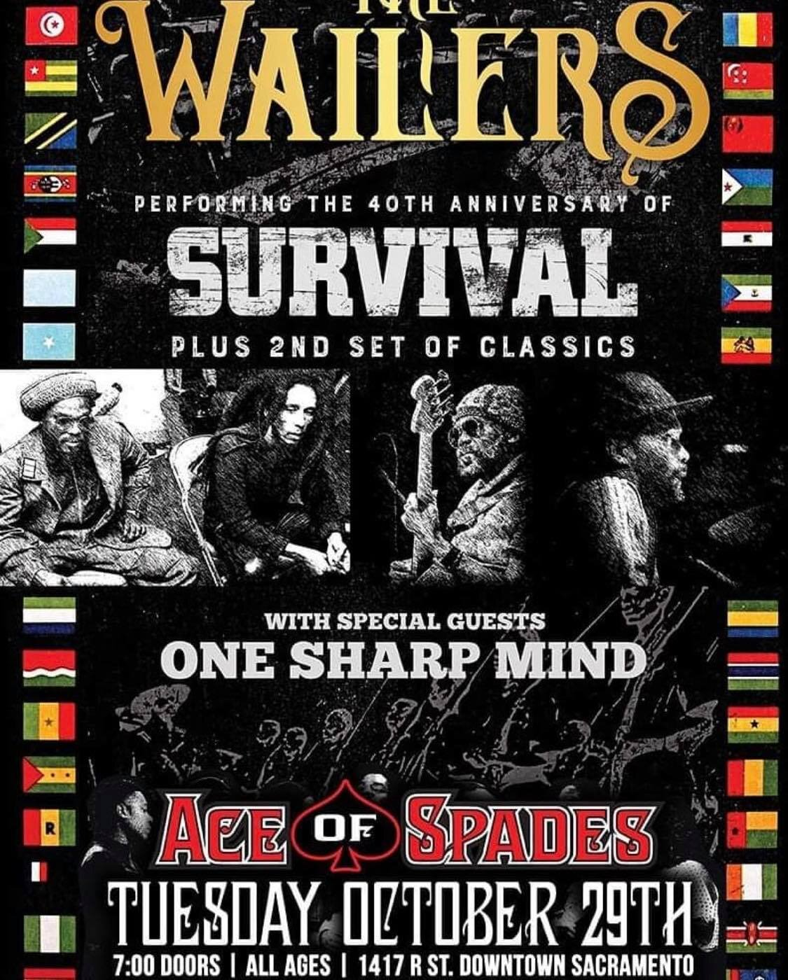 We're unbelievably thrilled to get to open up for our inspiration, The Wailers (As in Bob Marley & The Wailers!!). Join us October 29th, 2019 at Ace of Spades (an all ages venue!) in Sacramneto. Show starts at 7:30! Click image above for tickets!