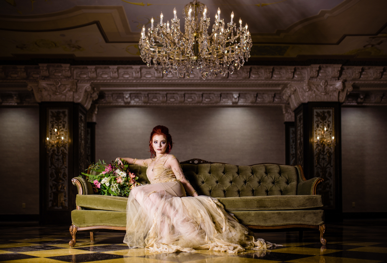 photo by Paul Douda, gown by Michelle Hebert,florals by Adrianne Smith,hair by Lia at Kuthaus Glendora makeup by Alta DeKoven at The US GRANT HOTEL