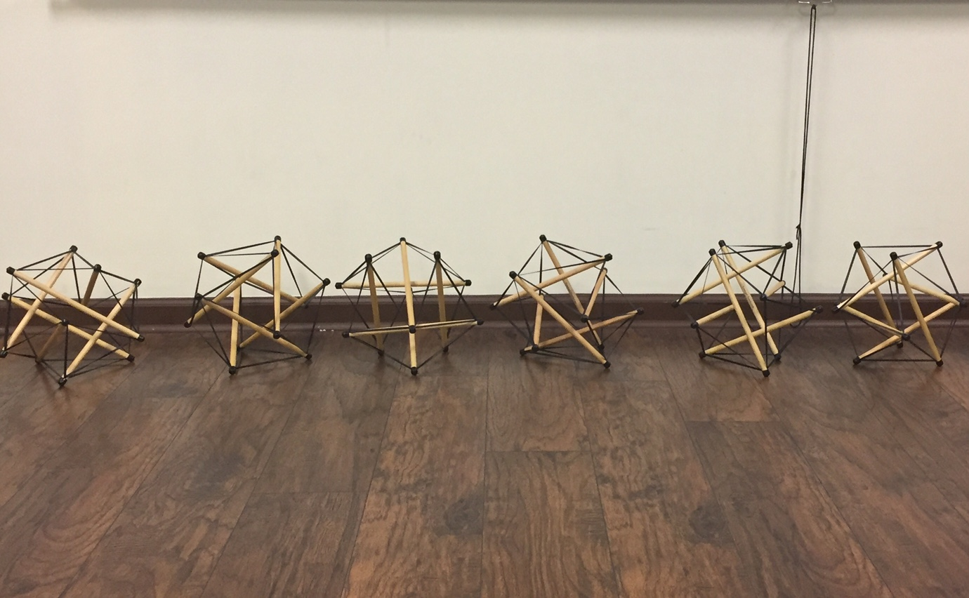 We got to build these tensegrity models which demonstrate how the fascia in our bodies is one interconnected tensional network that adapts its fiber arrangement and density according to local tensional demands. So basically if you apply pressure to one area of the body the rest of the body will reorganize to compensate for that pressure.