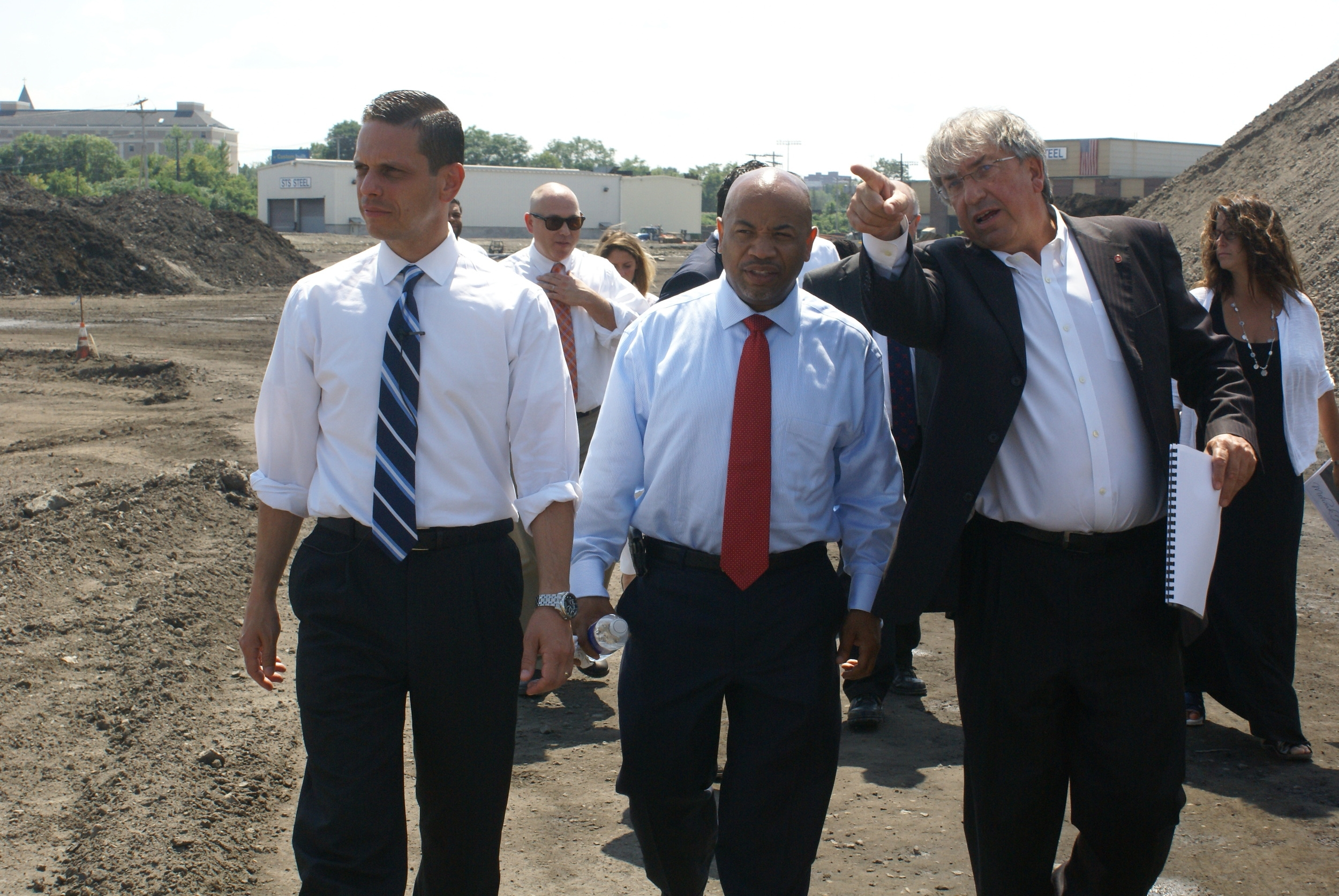 Assemblyman Angelo Santabarbara and Galesi Group COO David Buicko led Assembly Speaker Carl Heastie on a tour of the Mohawk Harbor in Schenectady, which is the future home of the Rivers Casino & Resort.