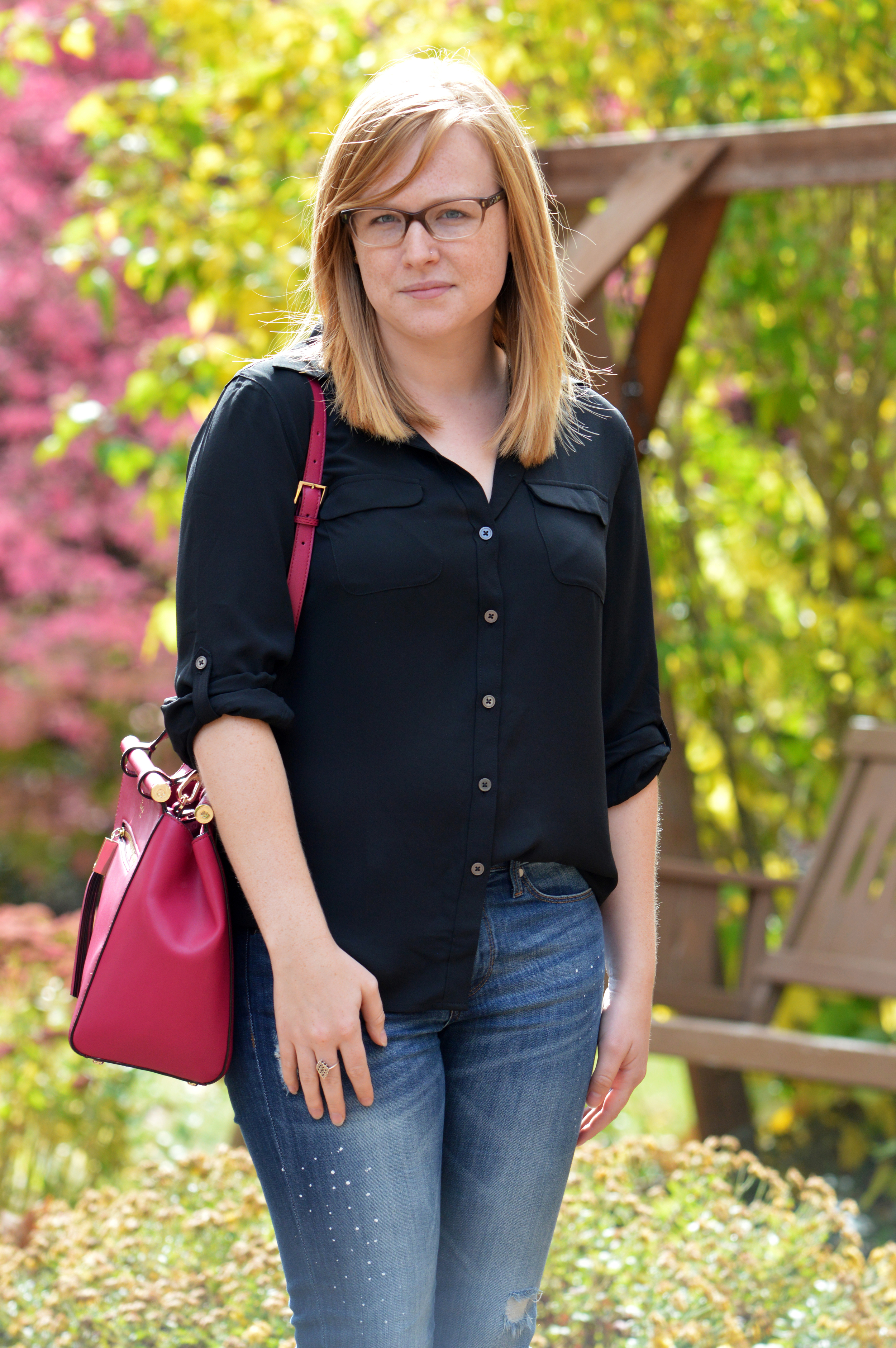 Maggie a la Mode - Ann Taylor LOFT Utility Blouse, Banana Republic distressed jeans, Anthropologie boots, Kate Spade satchel