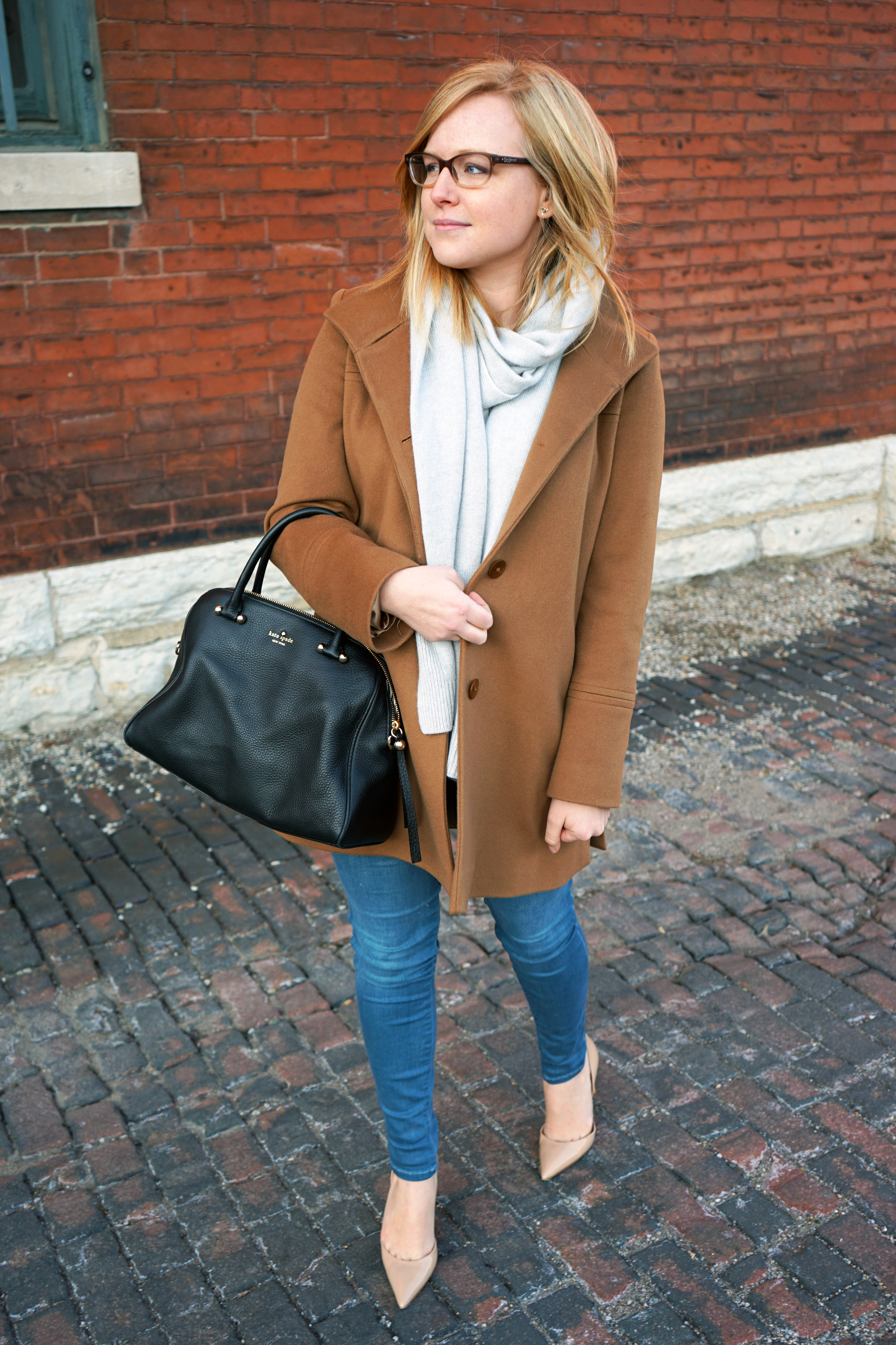 Fleurette Wool Stand Collar Car Coat, Banana Republic Todd and Duncan Plaited Cashmere scarf, J Brand Impulse jeans, Manolo Blahnik Taylor pointed d'orsay heel, Kate Spade purse