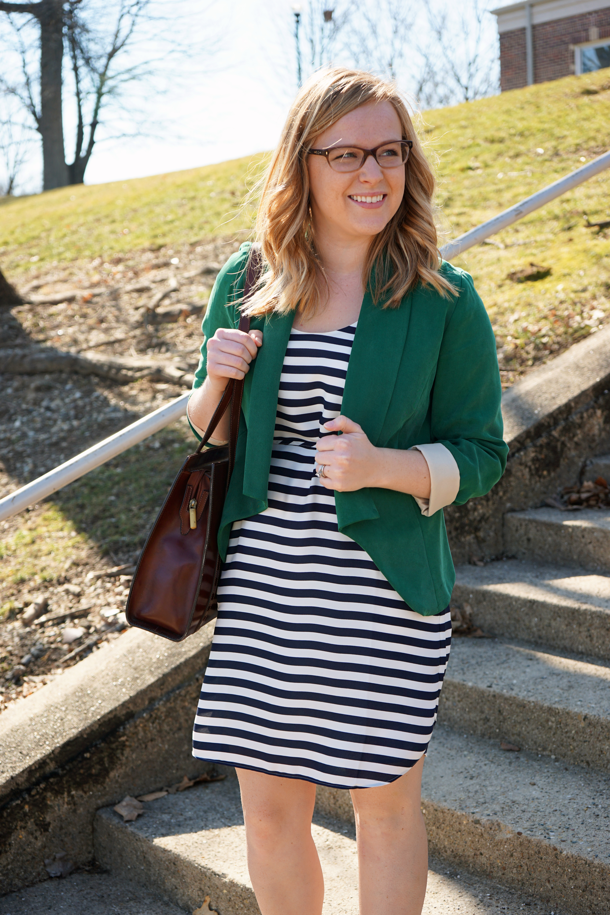 Ann Taylor LOFT striped shirttail tank dress, Badgley Mischka Presto ankle strap pointy toe pump, Anthropologie green drapey blazer, Italy leather purse - Maggie a la Mode