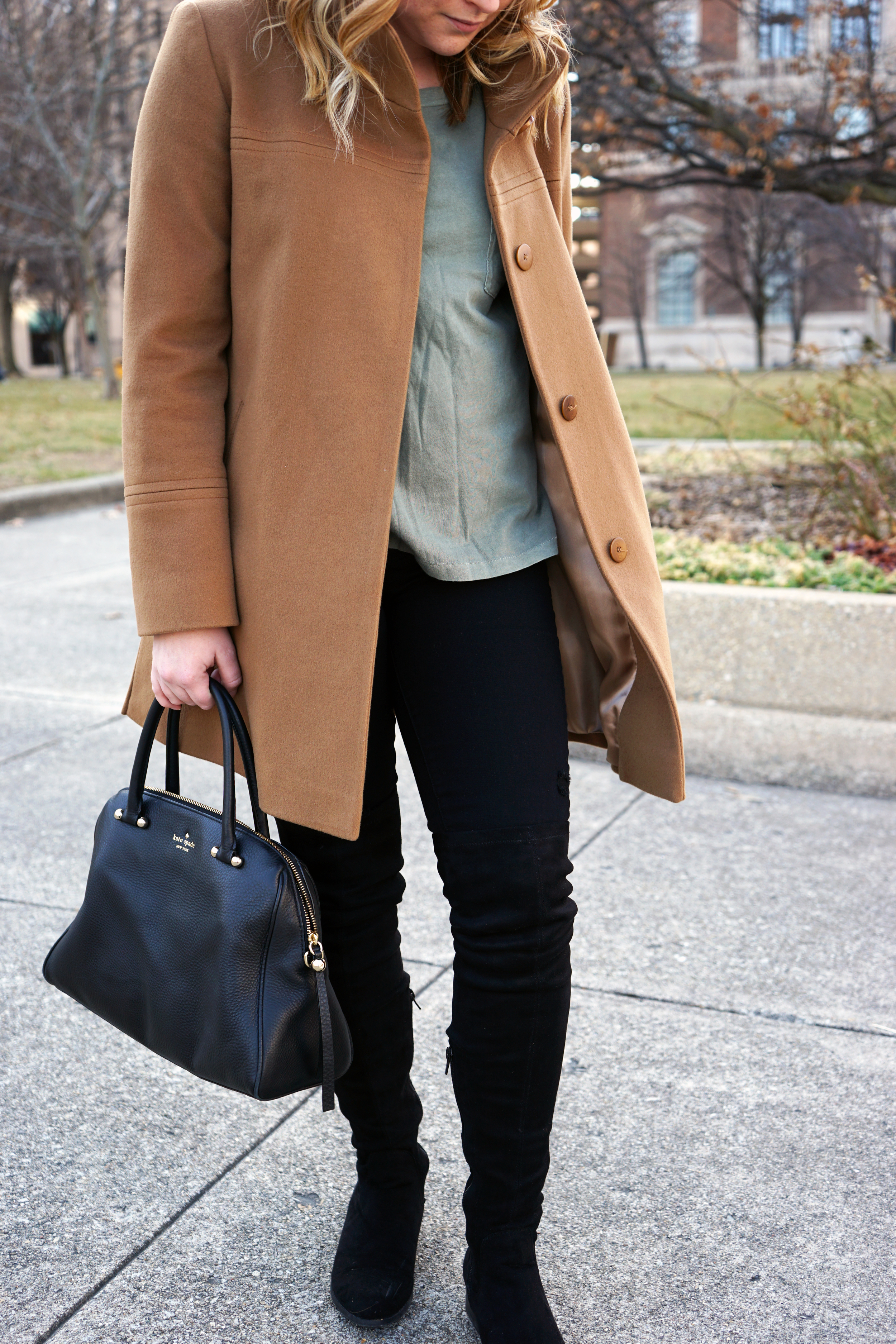 Fleurette Wool Stand Collar Car Coat, J Crew Garment Dyed Pocket Tee Shirt, Paige Denim Transcend Verdugo black skinny jeans, Forever 21 suede over the knee boots, Kate Spade Charles Street Brantley