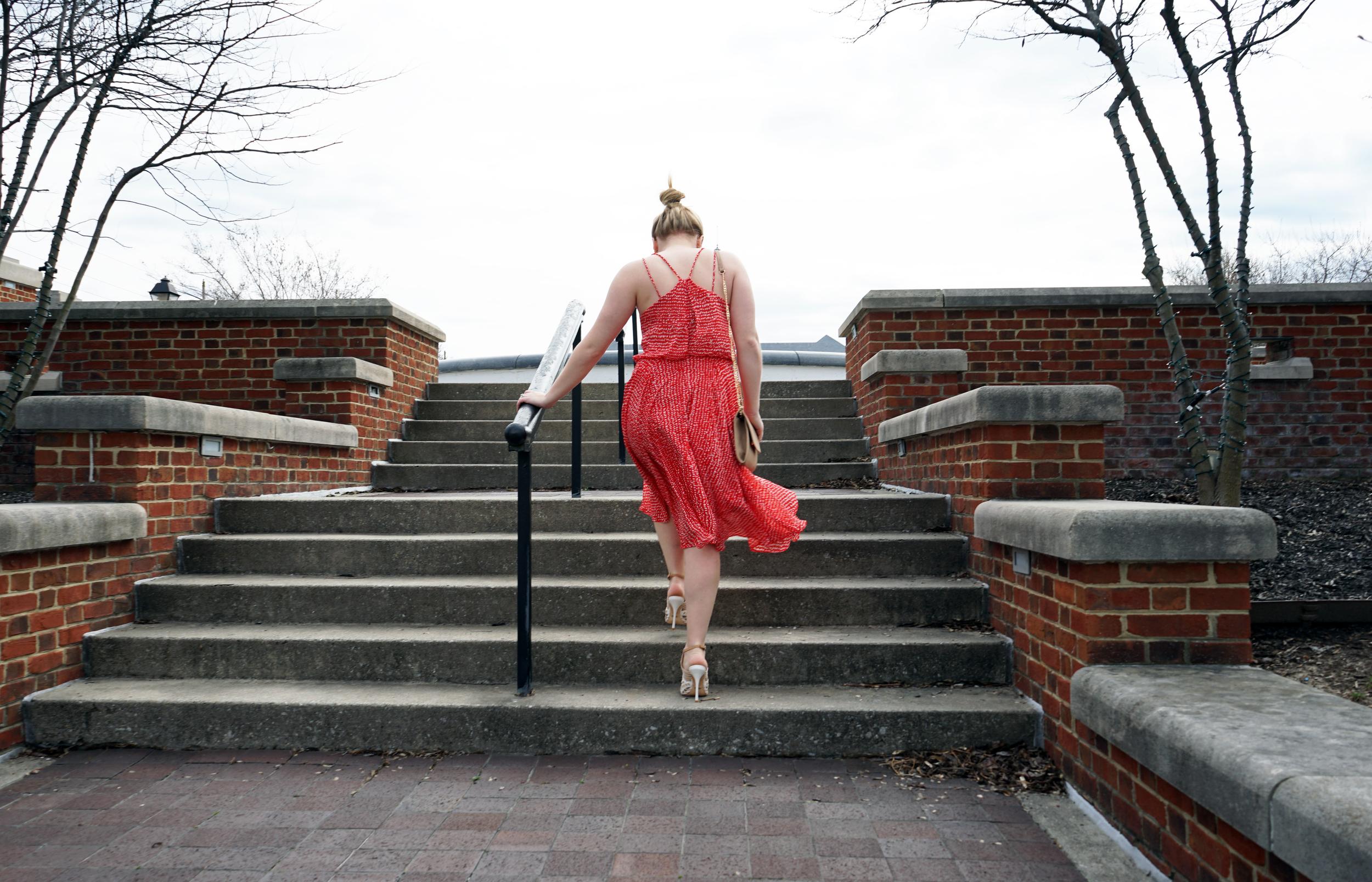 Nordstrom Leith Midi swing dress red barberry dot, Schutz tamiris sandals, Urban Expressions Carissa crossbody purse, Nadri round cubic zirconia stud earrings - Maggie a la Mode