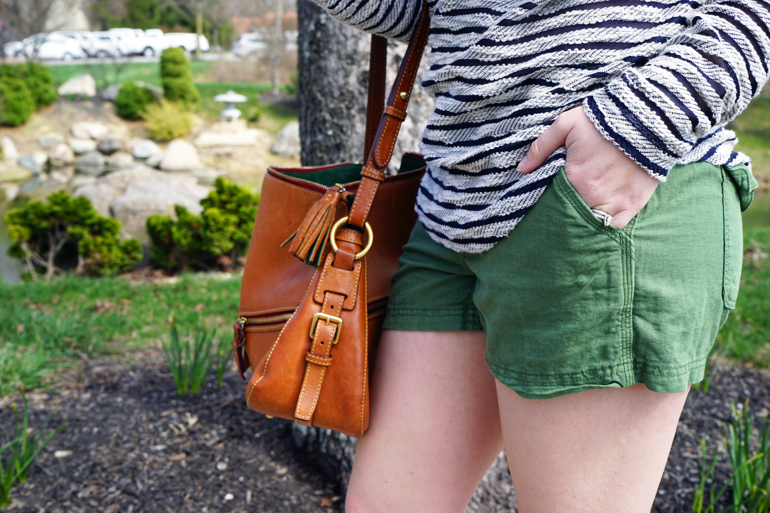 J Crew Factory garment-dyed linen shorts, Lou & Grey stripe baseball tee, Dooney and Bourke purse, Madewell d'orsay dot flats - Maggie a la Mode