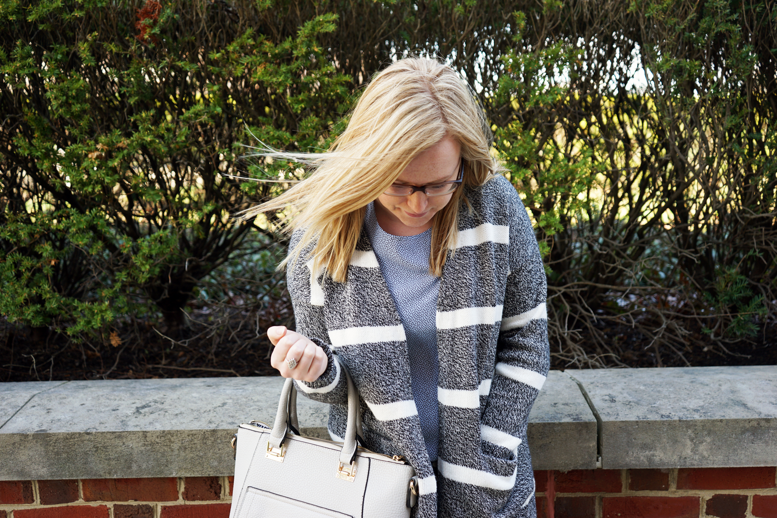 Madewell Striped open cardigan sweater, Ann Taylor dotted fluid tee, Mother denim The Pixie skinny jeans, Via Spiga Nalo wedges, Urban Expressions Gia satchel purse - Maggie a la Mode