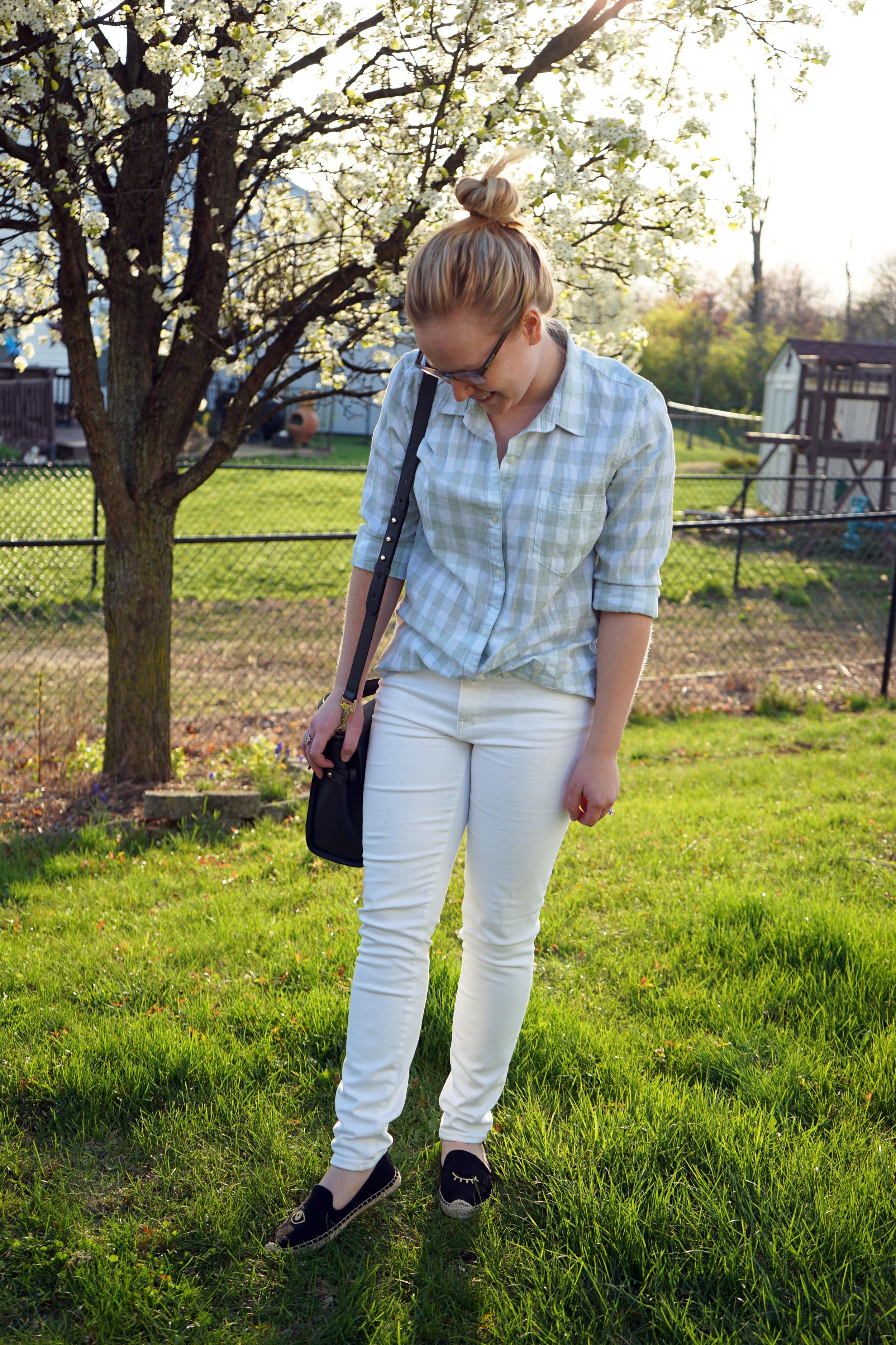 Soludos x Jason Polan winking eye espadrille flats, Madewell skinny jeans (pure white), Gap flannel shirt, Luana Italy paley satchel purse - Maggie a la Mode