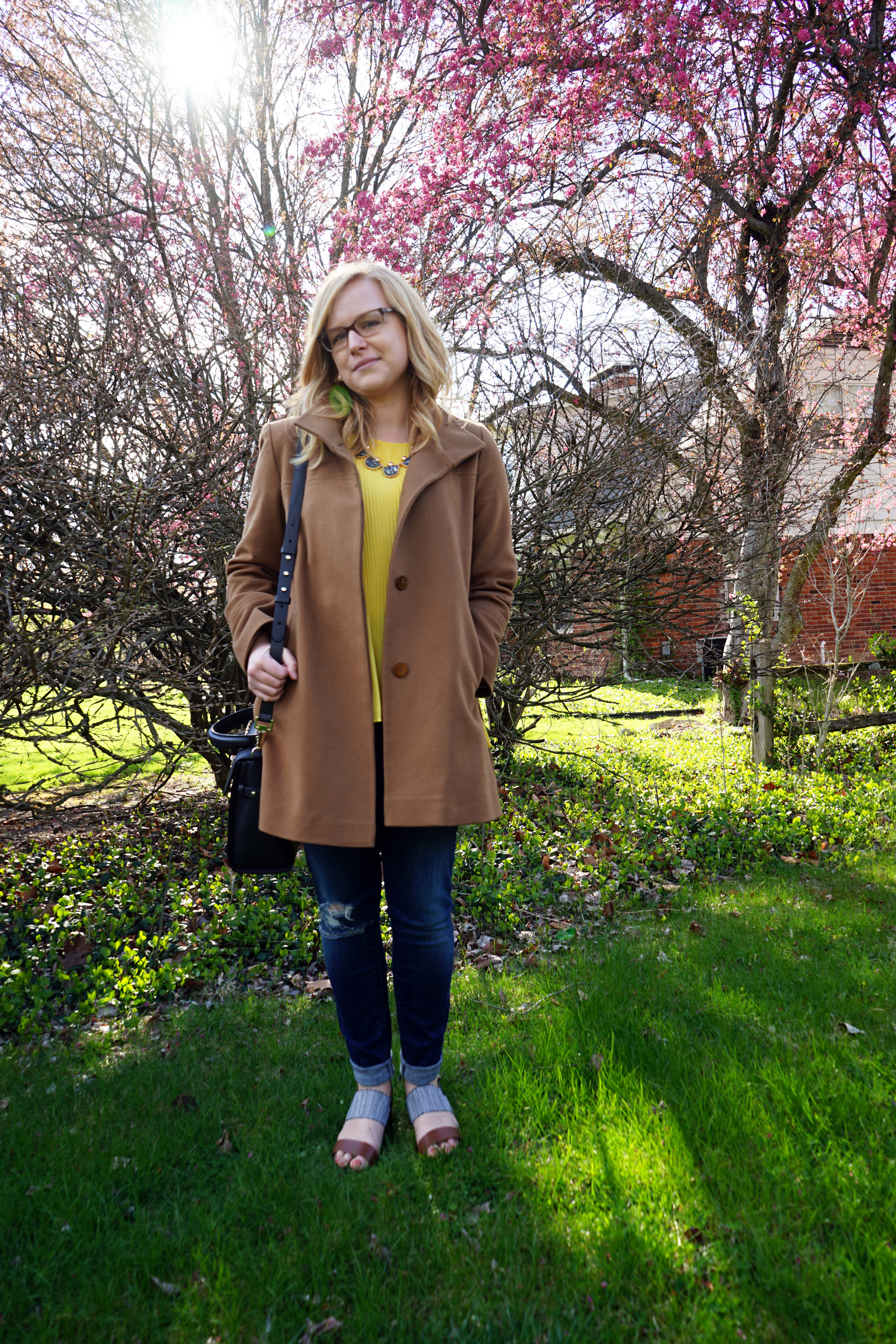 Zara Asymmetric Pleated Top, Fleurette Wool Stand Collar Car Coat, Mother pixie jeans, Modcloth Chelsea Crew Couth Fusion Heel, BaubleBar Howlite Guillotine Collar Necklace, Luana Italy Paley purse