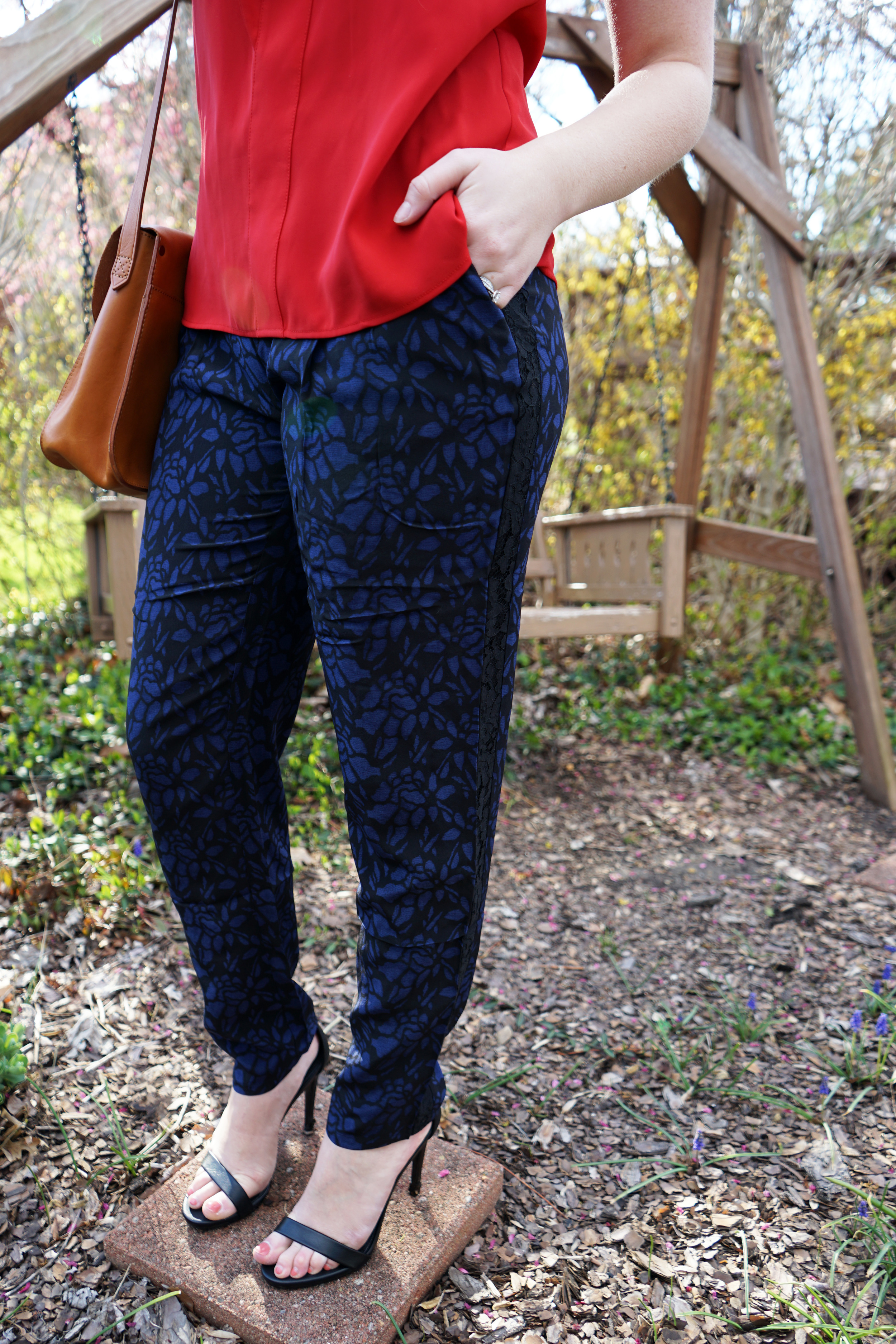Joie Zelie Silk Pant Caviar, Zara ruffle blouse top, Steve Madden Stecy sandal, Nadri Starry Night multi hoop earrings, Madewell the watertower messanger crossbody purse - Maggie a la Mode