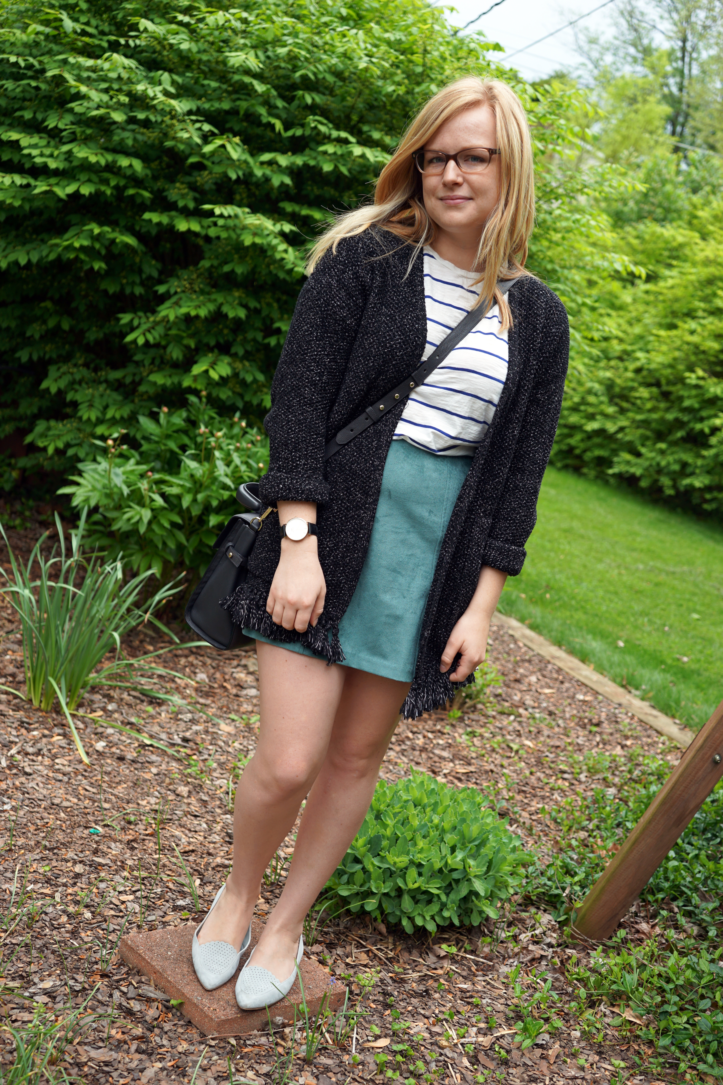 Kendall and Kylie suede skirt, Madewell whisper cotton tee shirt, Madewell memento fringe sweater, Cole Haan Allison perforated pointed toe flat, Luana Italy paley mini satchel - Maggie a la Mode