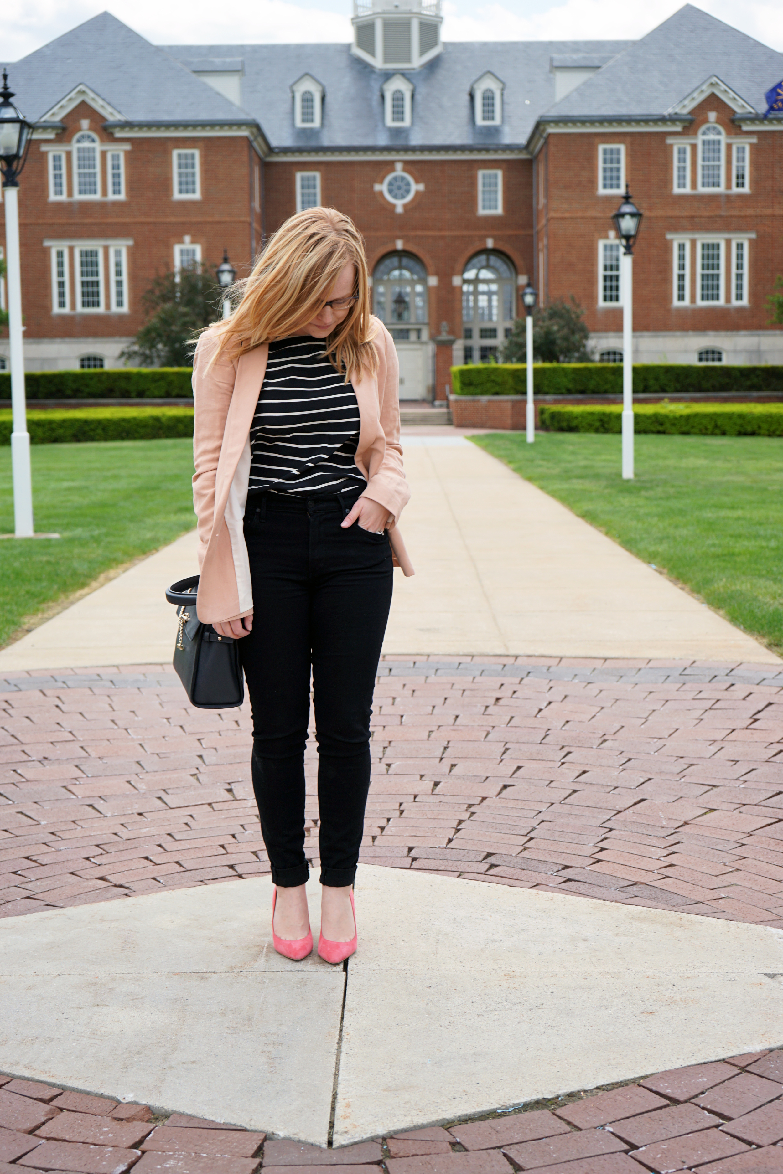 Ann Taylor Linen Blend Blazer, Madewell silk striped tailored tee, Citizens of Humanity Rocket High Rise Skinny Jeans Blackbird, Sam Edelman Dea heel pump, Luana Italy paley satchel - Maggie a la Mode