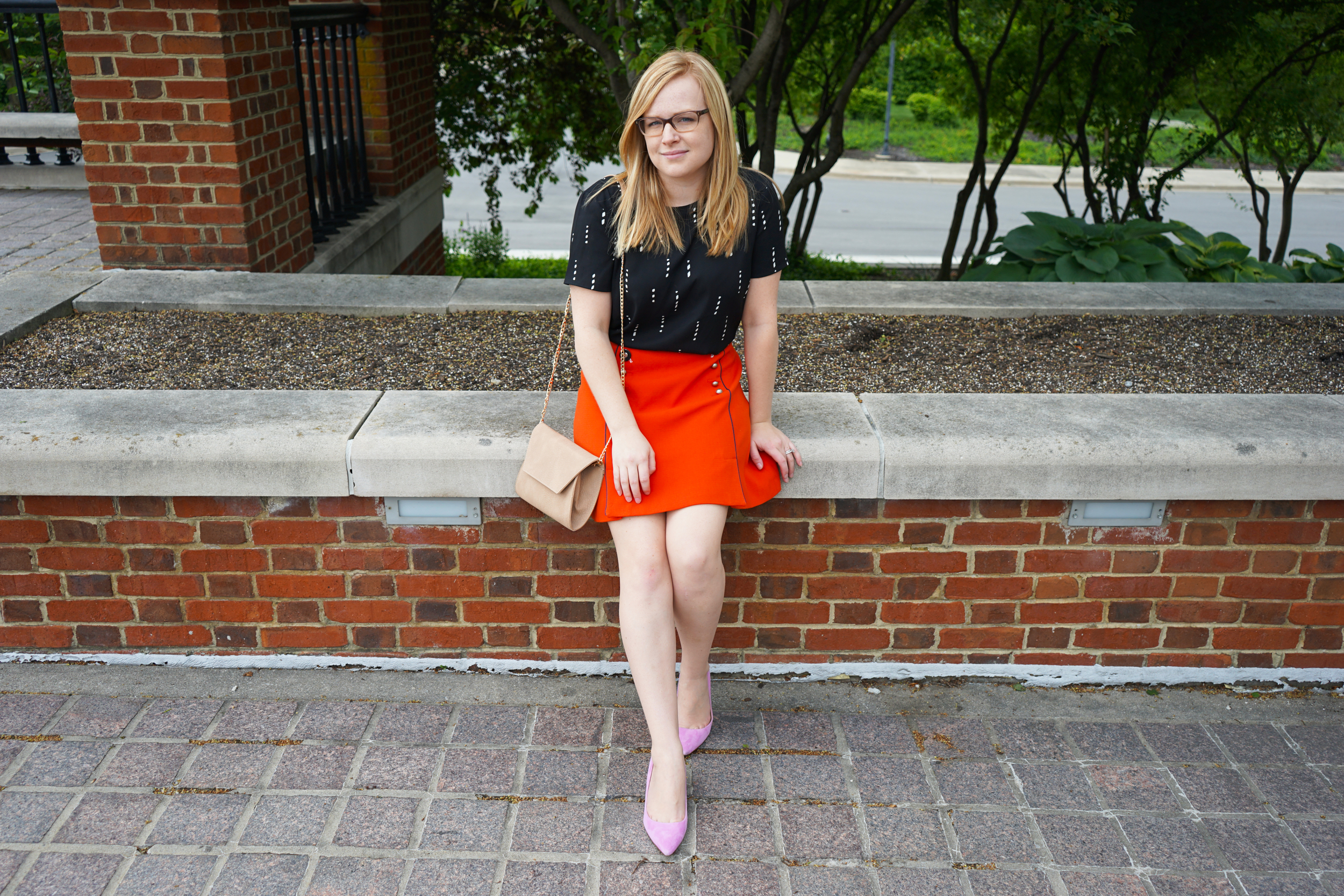 Ann Taylor Stitched Stripe Fluid Tee, Anthropologie Leifsdottir Regatta Skirt, J Crew dulci kitten heels, Urban Expressions Carissa crossbody - Maggie a la Mode
