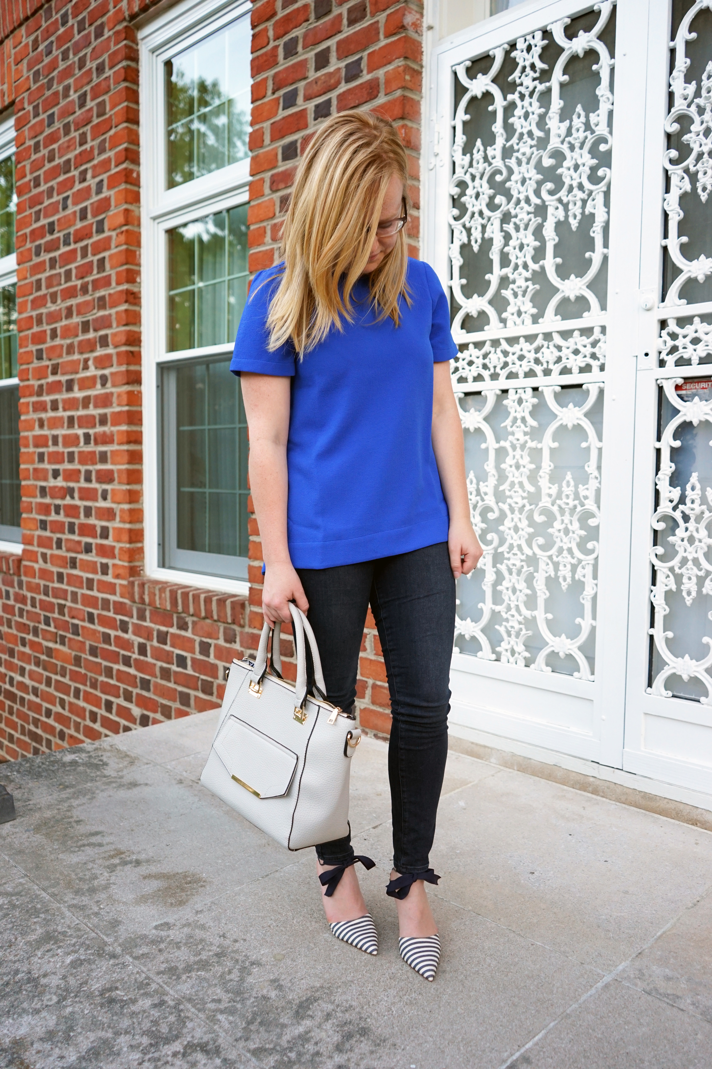 Maggie a la Mode - J Crew Elsie Bow-Tie Pumps, Madewell Trailored Tee, Paige VerdugoSkinny Jean Reed, Urban Expressions Gia Satchel