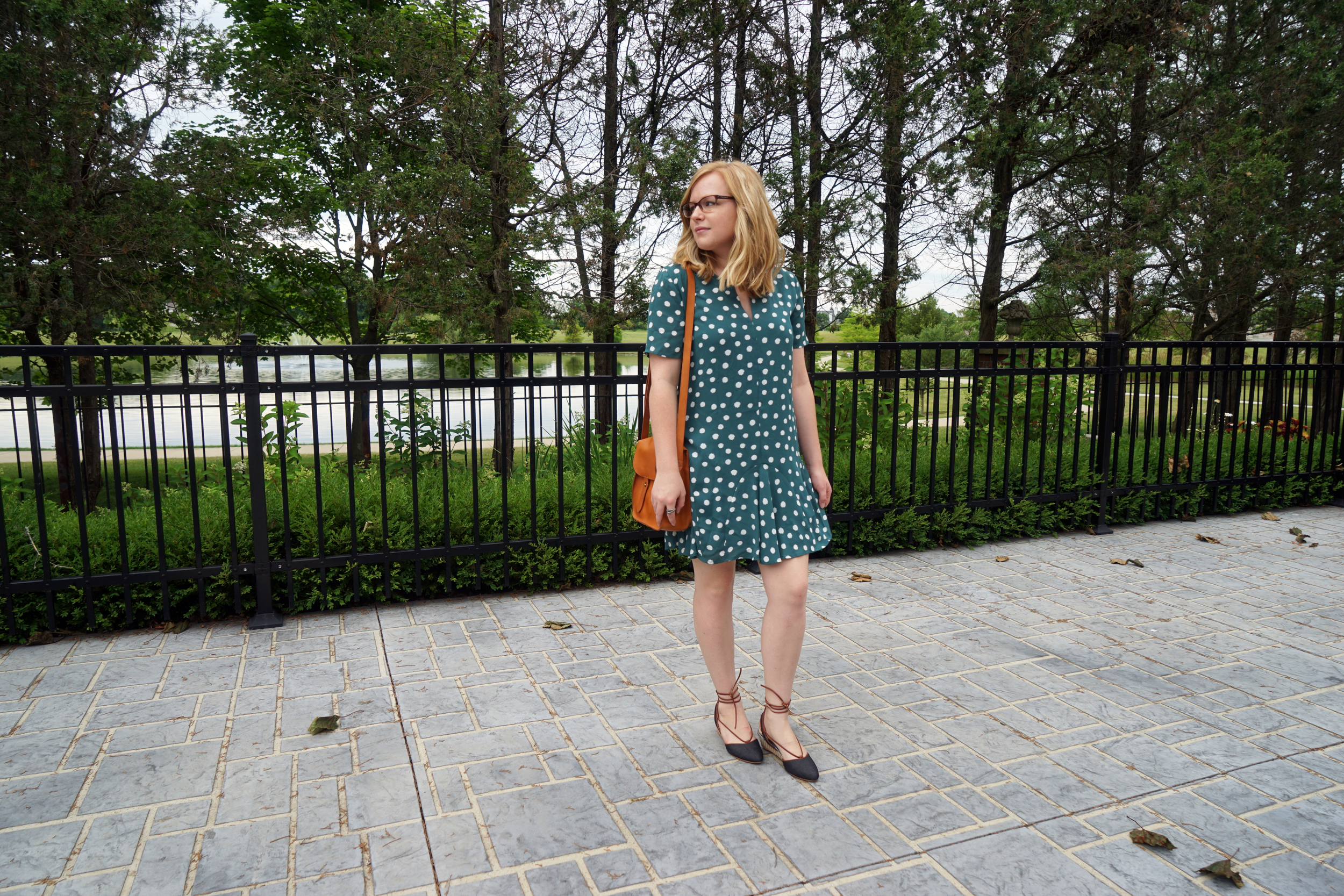 Maggie a la Mode - 1.State Short Sleeve Polka Dot Dress, Anthropologie Faryl Robin Frida Lace-up Slingbacks Wedges