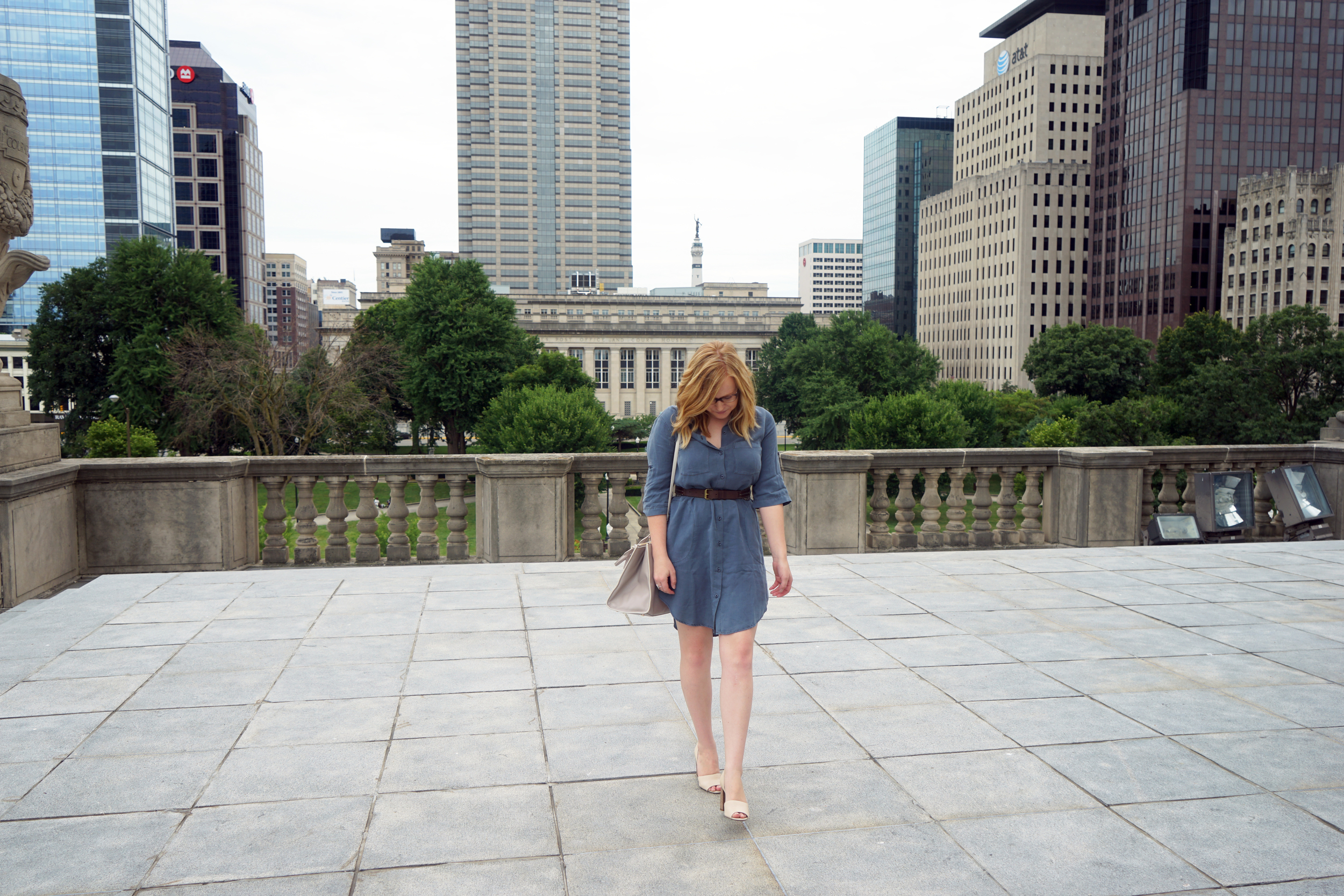 Maggie a la Mode - Anthropologie Cloth & Stone Utility Shirtdress, Franco Sarto Emma D'Orsay Heels, Coach satchel
