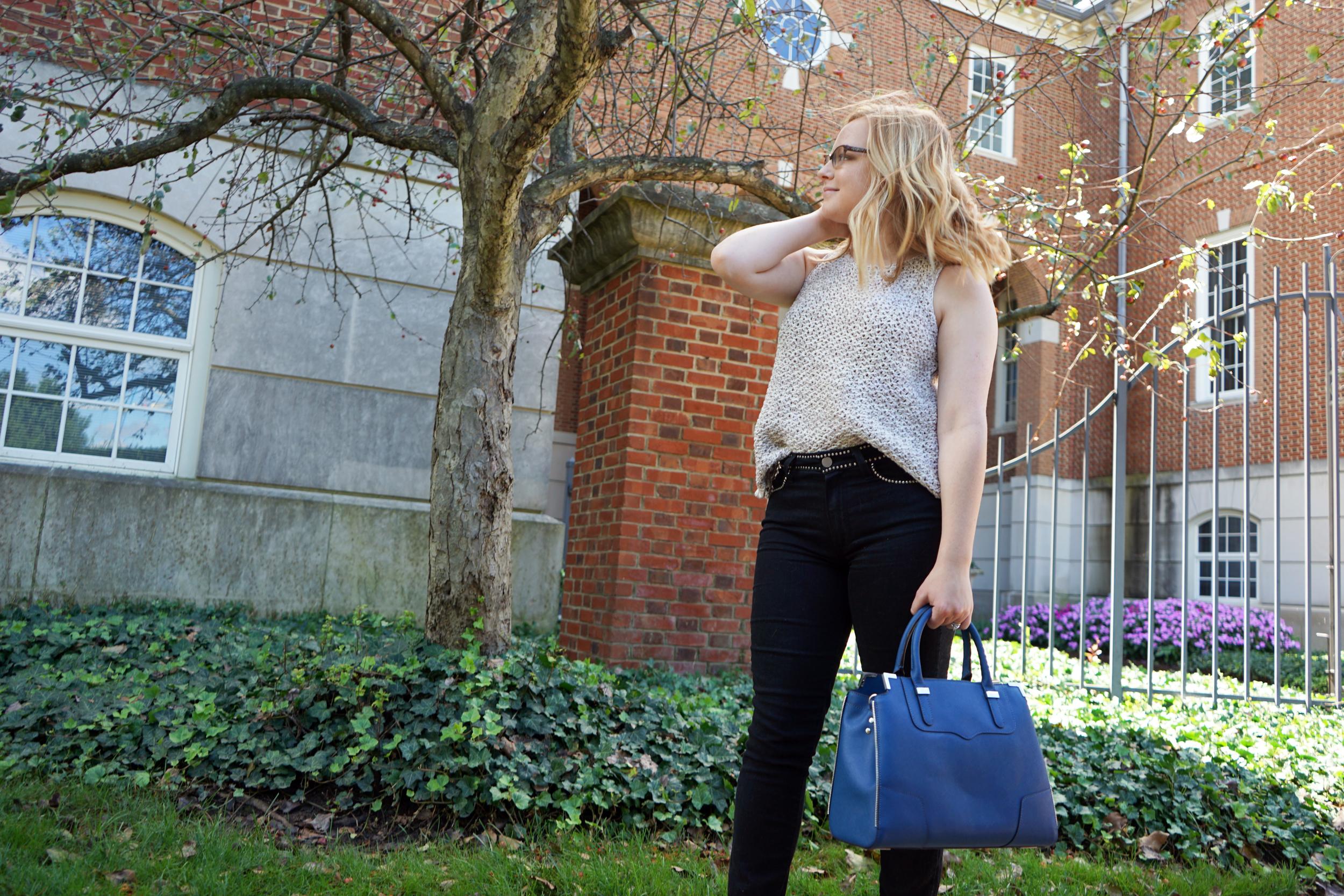 Paige Hoxton Imperial Noir studded jeans, LOFT crochet tank, Rebecca Minkoff amorous satchel, Steve Madden Carrson sandals heels - Maggie a la Mode Studded Jeans