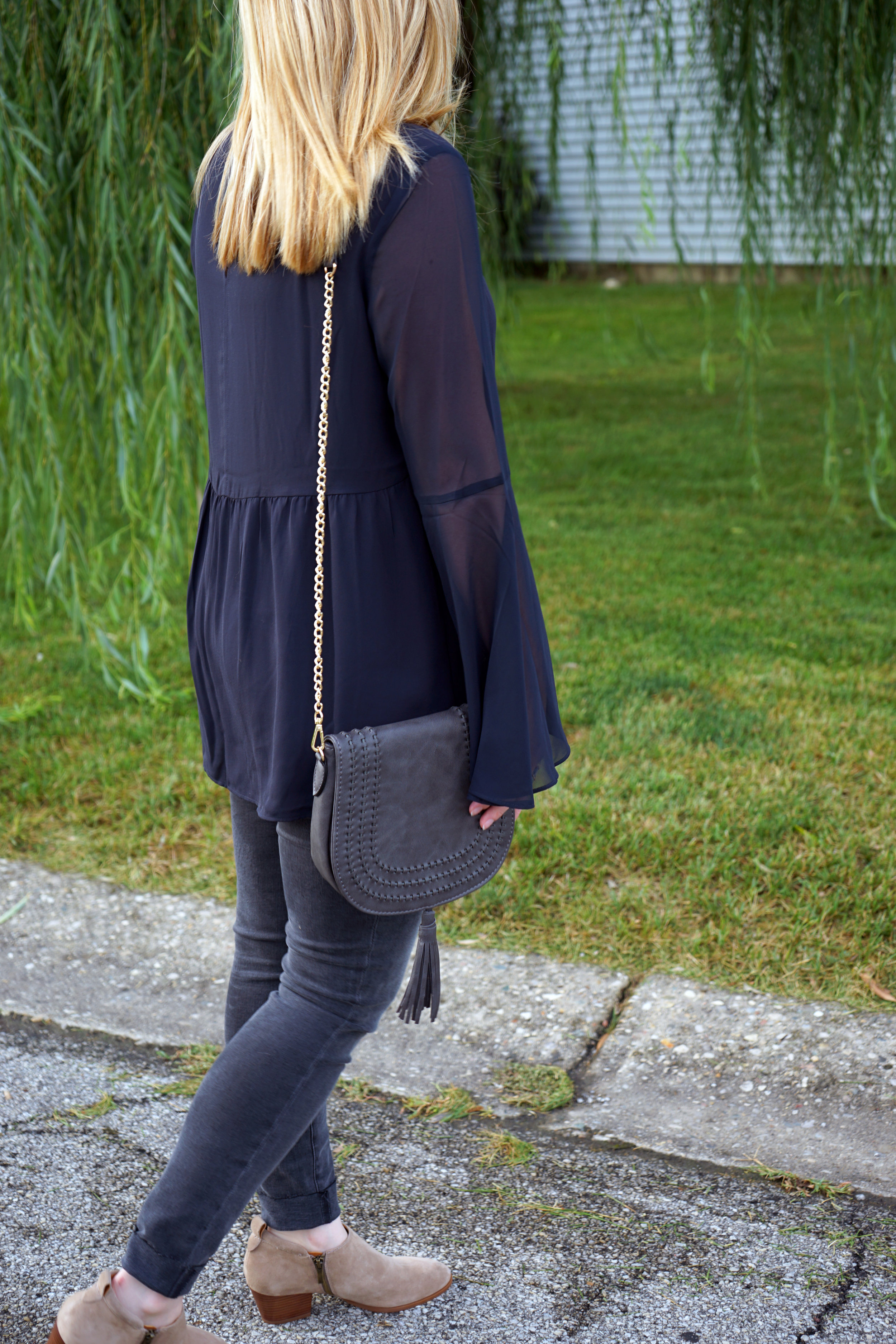 Ann Taylor LOFT Sheer Bell Sleeve blouse, FRAME denim Le Skinny de Jeanne Jeans muddy waters, Urban Expressions Jessa crossbody, Franco Sarto Granite bootie, UncommonGoods waterfall ring