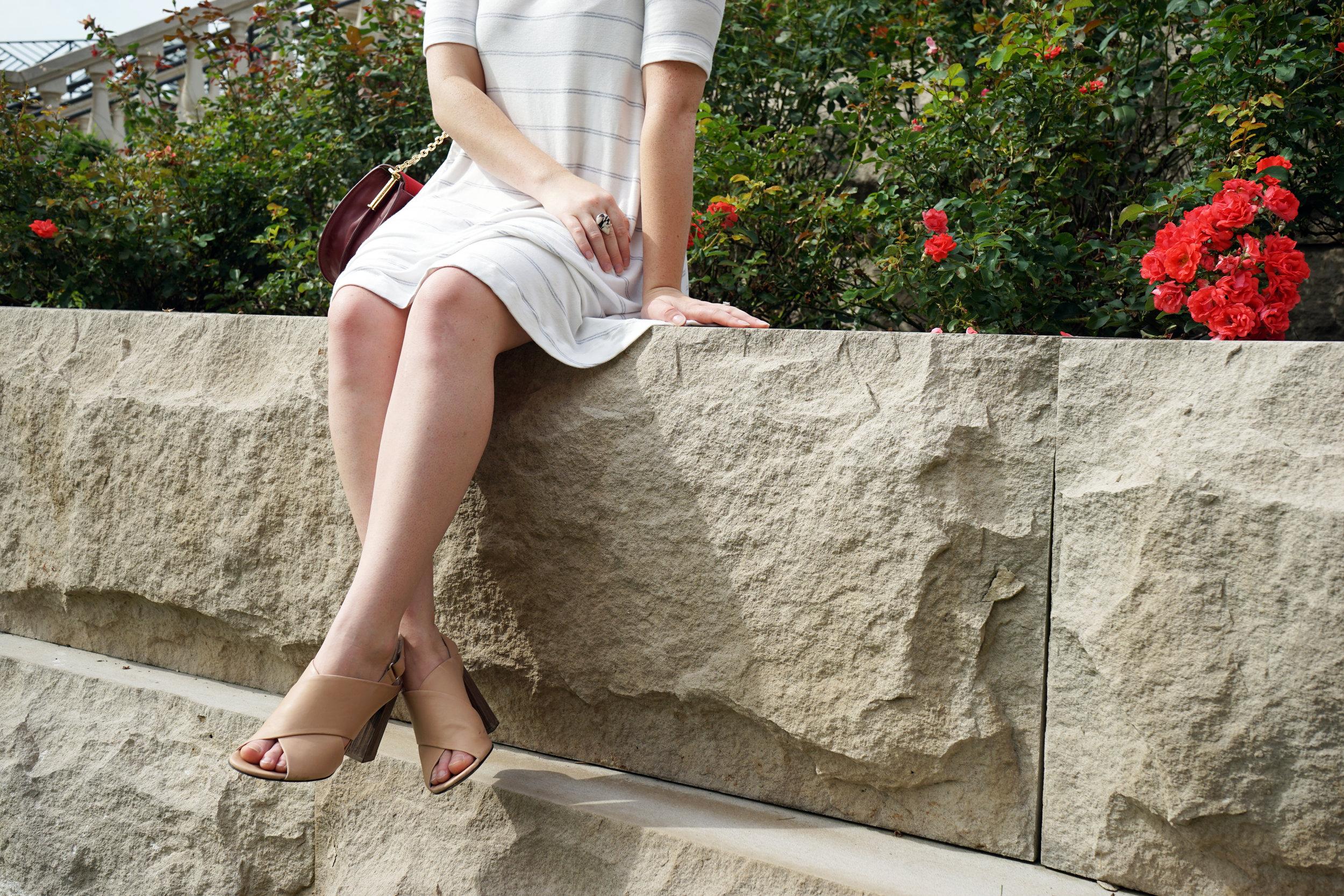 Lou & Grey striped signaturesoft swing dress, Vince Faine nude sandals, Louise et Cie Jael shoulder bag, Brin & Bell initial necklace - Maggie a la Mode