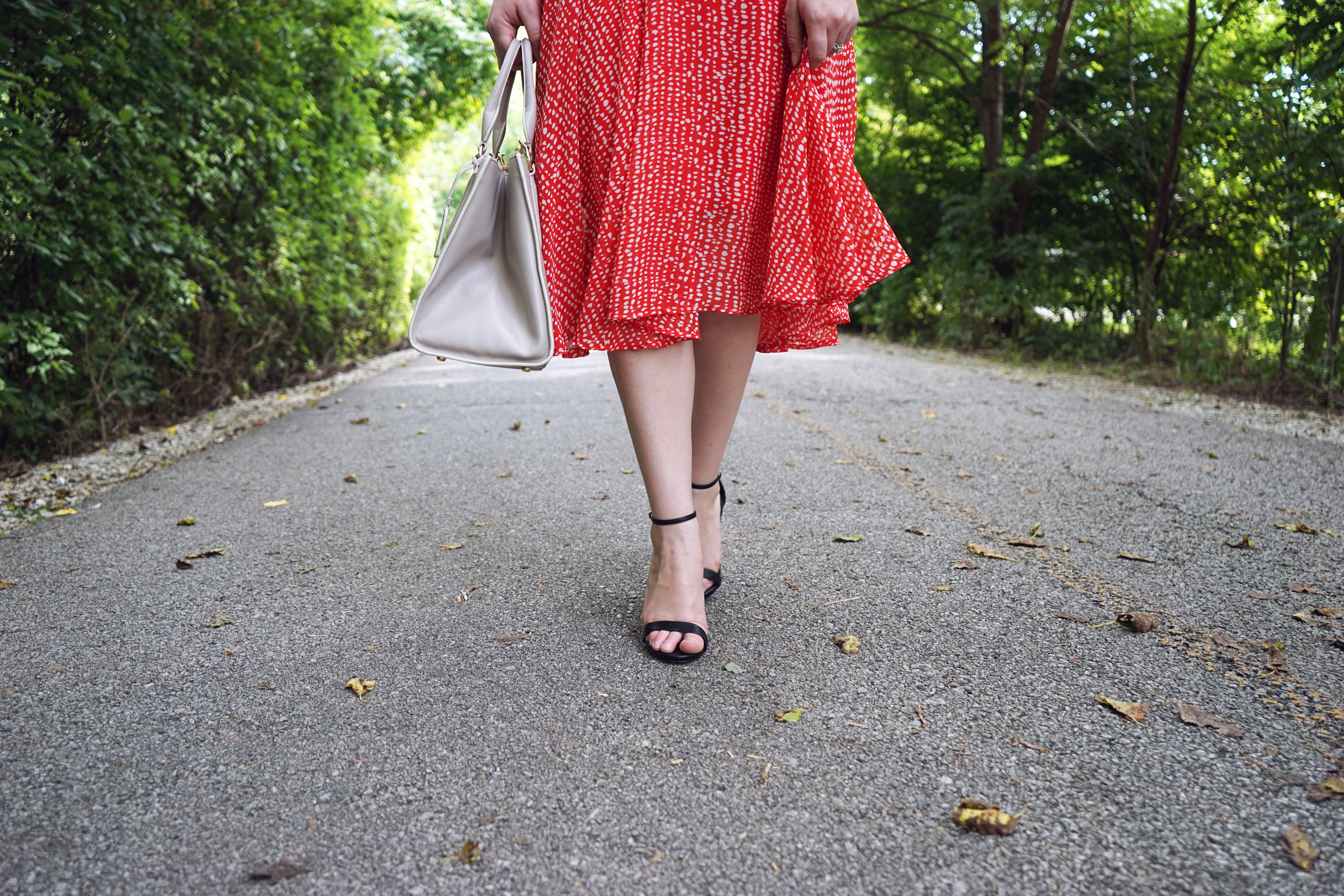 Leith Midi Swing Dress red barberry dot, Club Monaco Thanda cashmere sweater, Steve Madden Stecy sandals, Coach purse, Etsy necklace - Maggie a la Mode