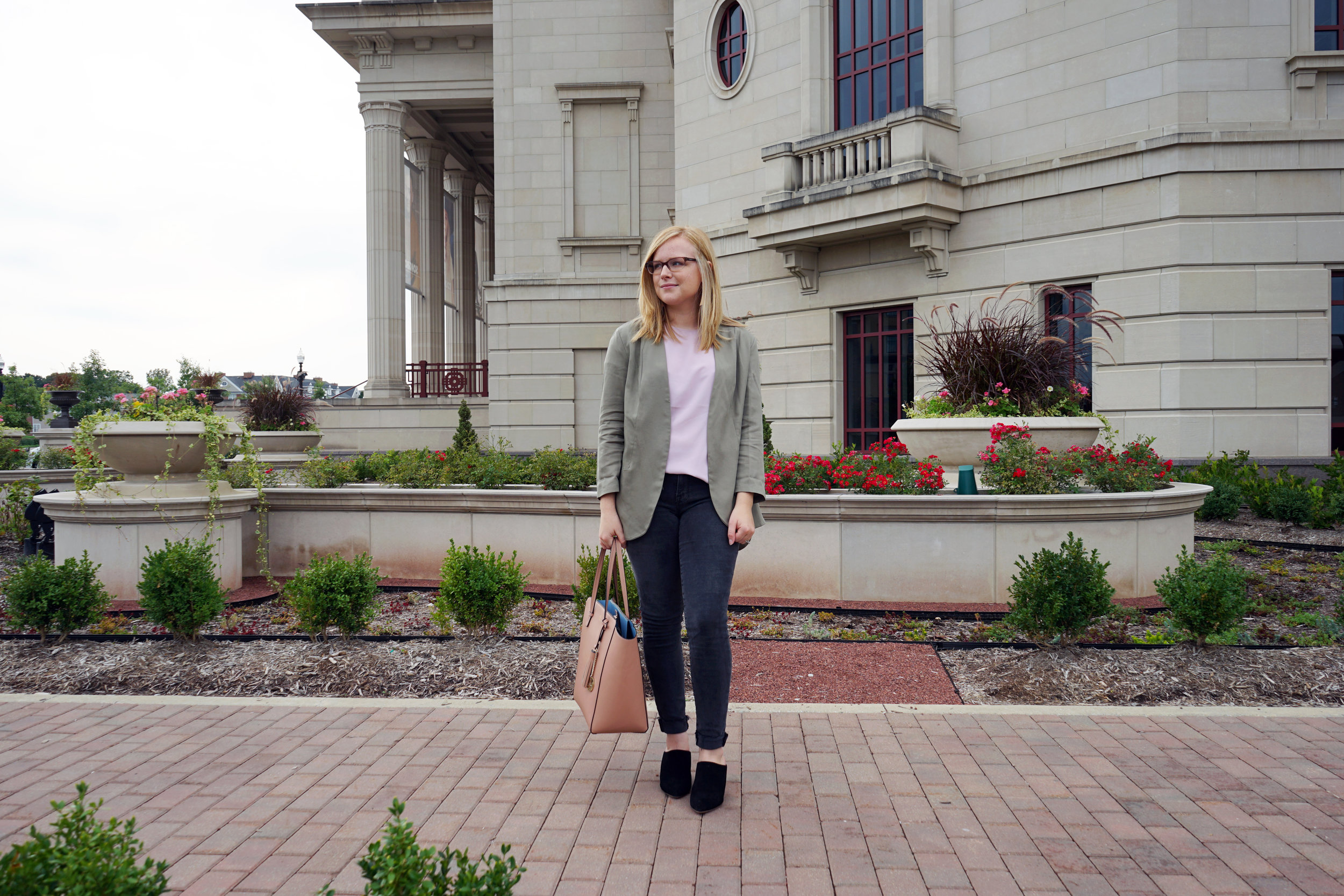 Ann Taylor Polished Tee, Frame Le  Skinny Muddywaters - Maggie a la Mode