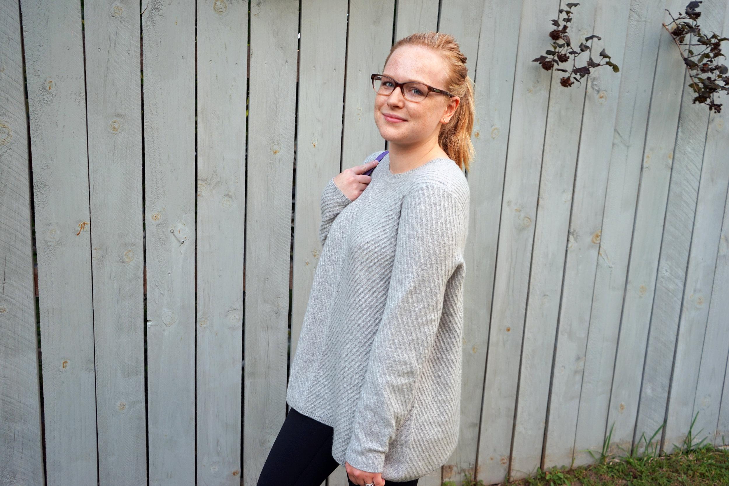 Maggie a la Mode - Nordstrom Signature Collection Chevron Cashmere Sweater, Zella Live-In High Waist Leggings, Soludos Classic Striped Espadrilles, Kate Spade Cedar Street Maise Satchel