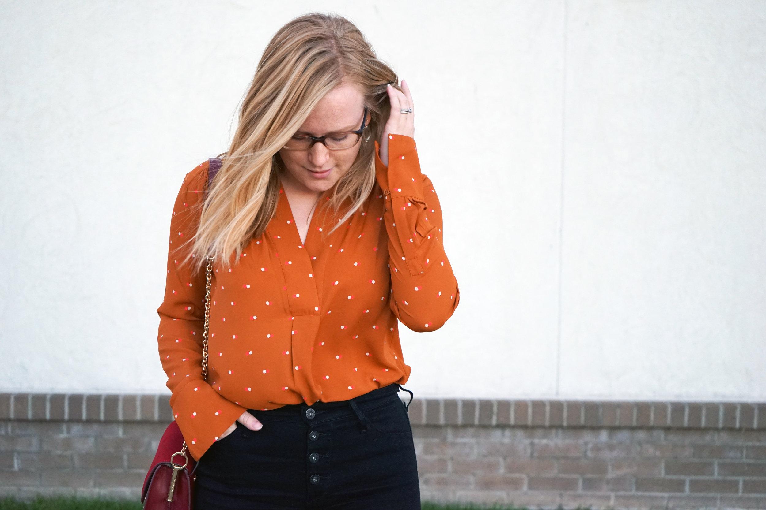 Maggie a la Mode - Pumpkin Polka Dot 4.JPG