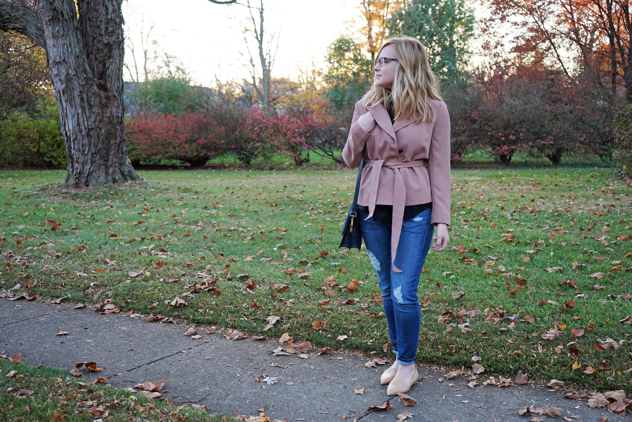 Maggie a la Mode - Ann Taylor Mini Trench Jacket 2.JPG