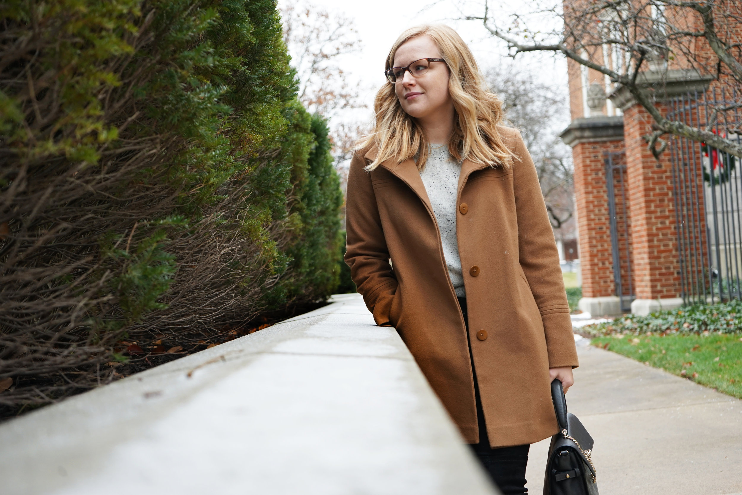 Maggie a la Mode - Madewell Cashmere Flare-Sleeve Crop Sweater Ash Donegal, AG Farrah Button Fly Skinny Jeans, Fleurette Wool Collar Car Coat Vicuna