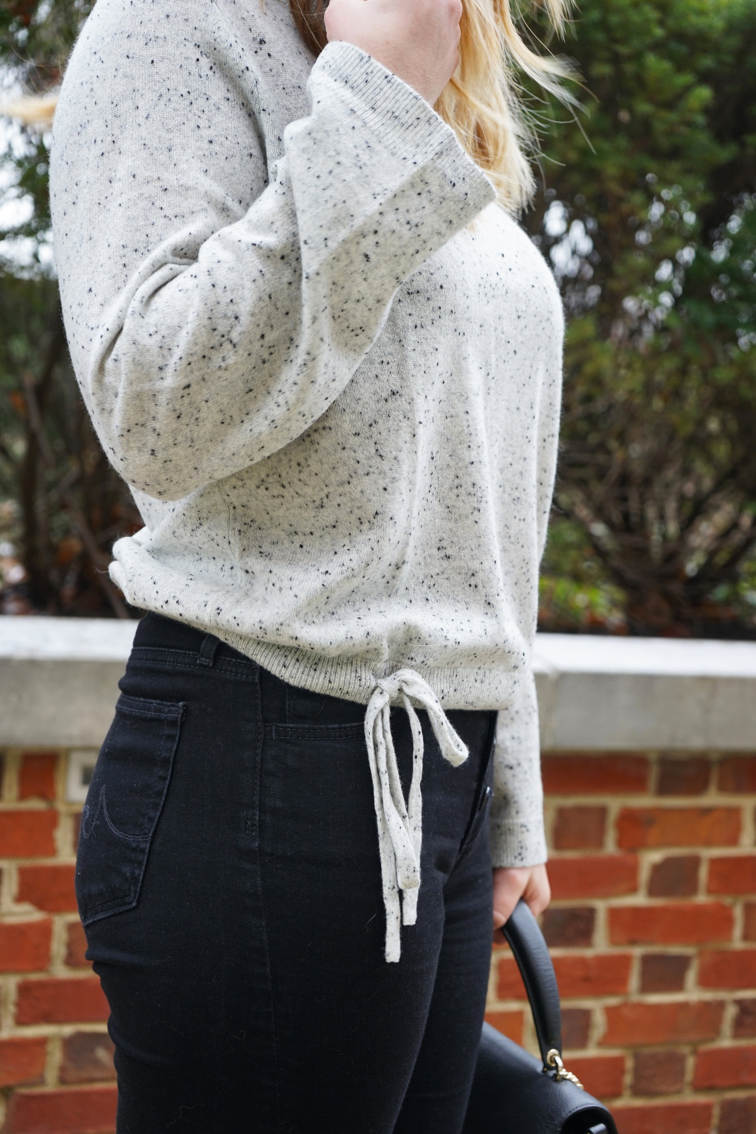 Maggie a la Mode - Madewell Cashmere Flare-Sleeve Crop Sweater Ash Donegal, AG Farrah Button Fly Skinny Jeans, Forever 21 Over the Knee Boots