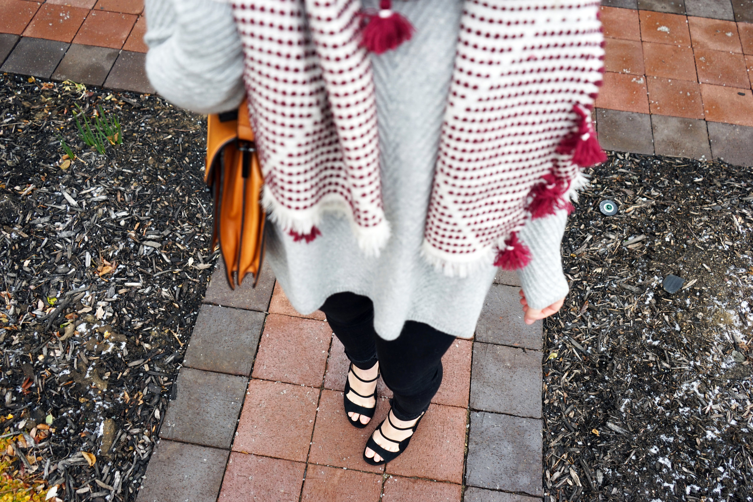 Maggie a la Mode - Madewell Diamond-Dash Tassel Scarf, Nordstrom Collection Chevron Cashmere Sweater, AG High-Waisted Skinny Jeans, Ann Taylor Ashton Suede Scalloped Heels, Loeffler Randall Rider Bag