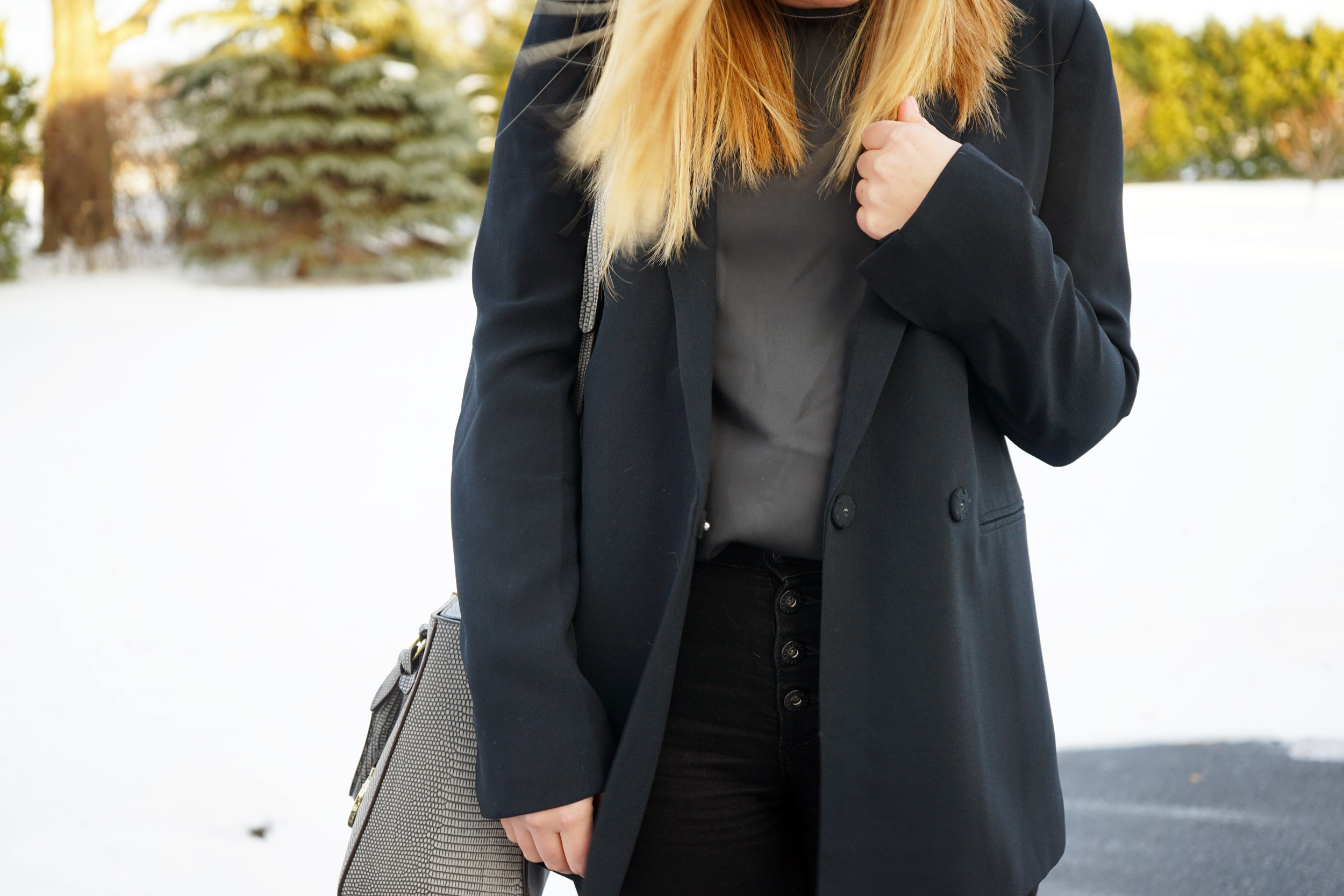 Maggie a la Mode - Madewell Boyfriend Blazer, Theory Melana Georgette Silk Top, AG Button Up Fly Jeans, Henri Bendel West 57th Lizard Turnlock Satchel