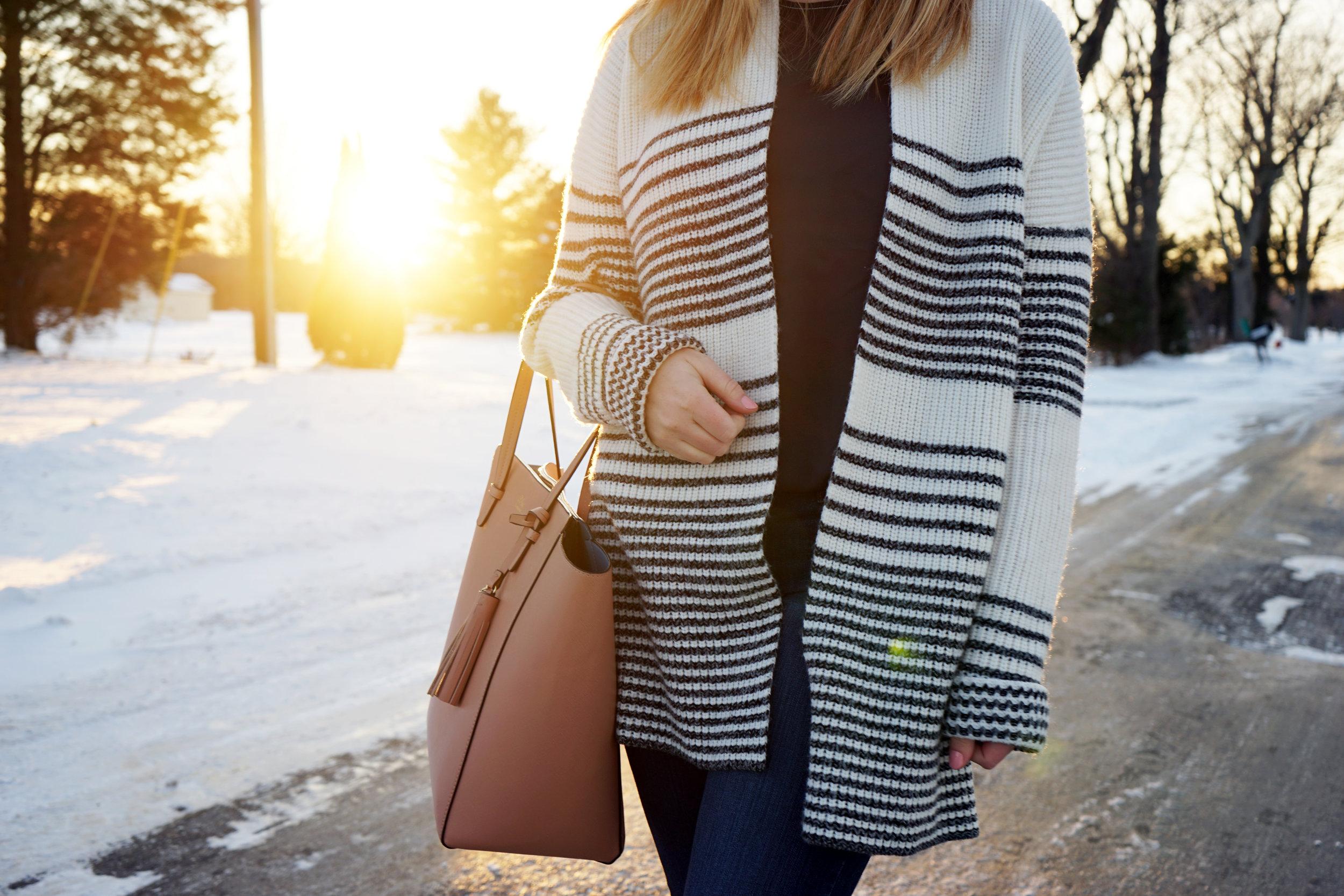 Maggie a la Mode - Gap Merino Wool Blend Gradient Stripe Shaker Cardigan, Theory Melana Modern Georgette Silk Top, Blue Les Copains Tote