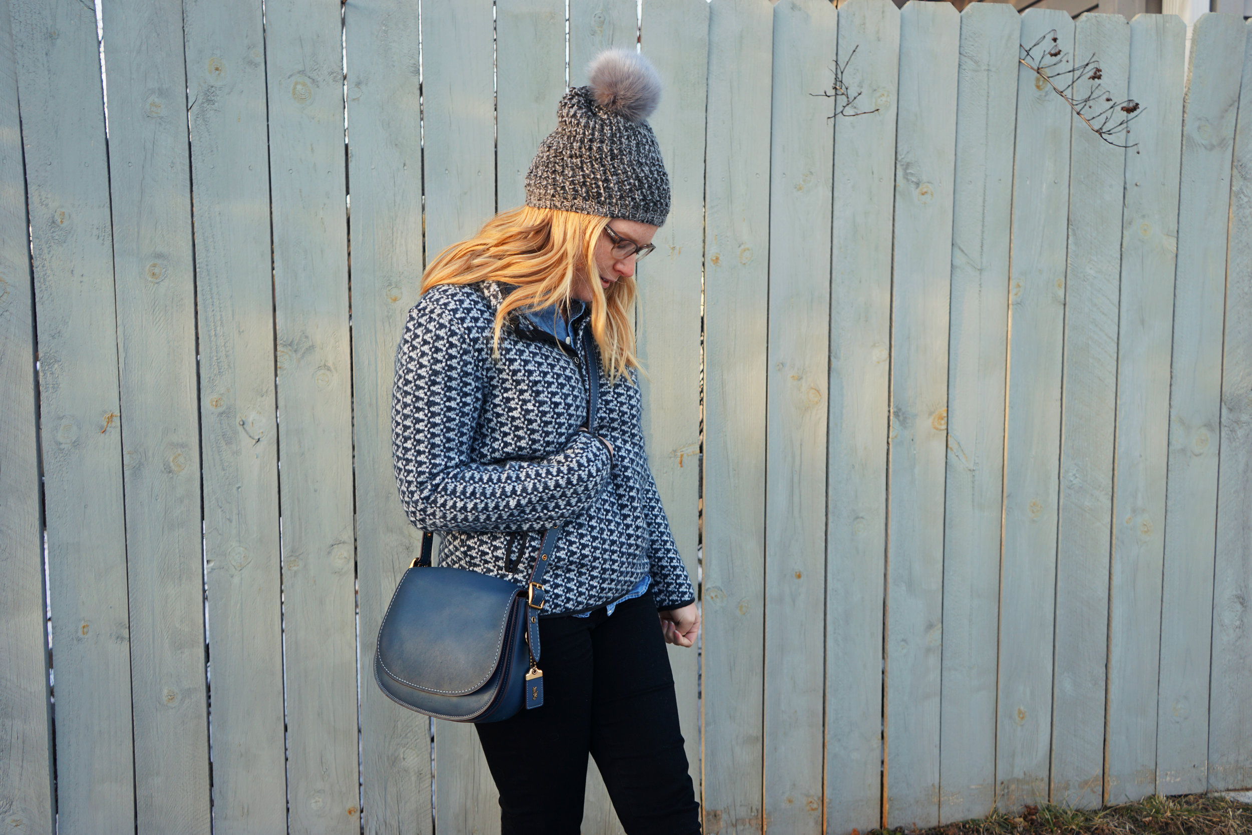 Maggie a la Mode - Madewell Harmonica Pullover, Madewell Perfect Chambray Sunday Shirt, Free People Powder River Pom Beanie, Coach Saddle Bag 23