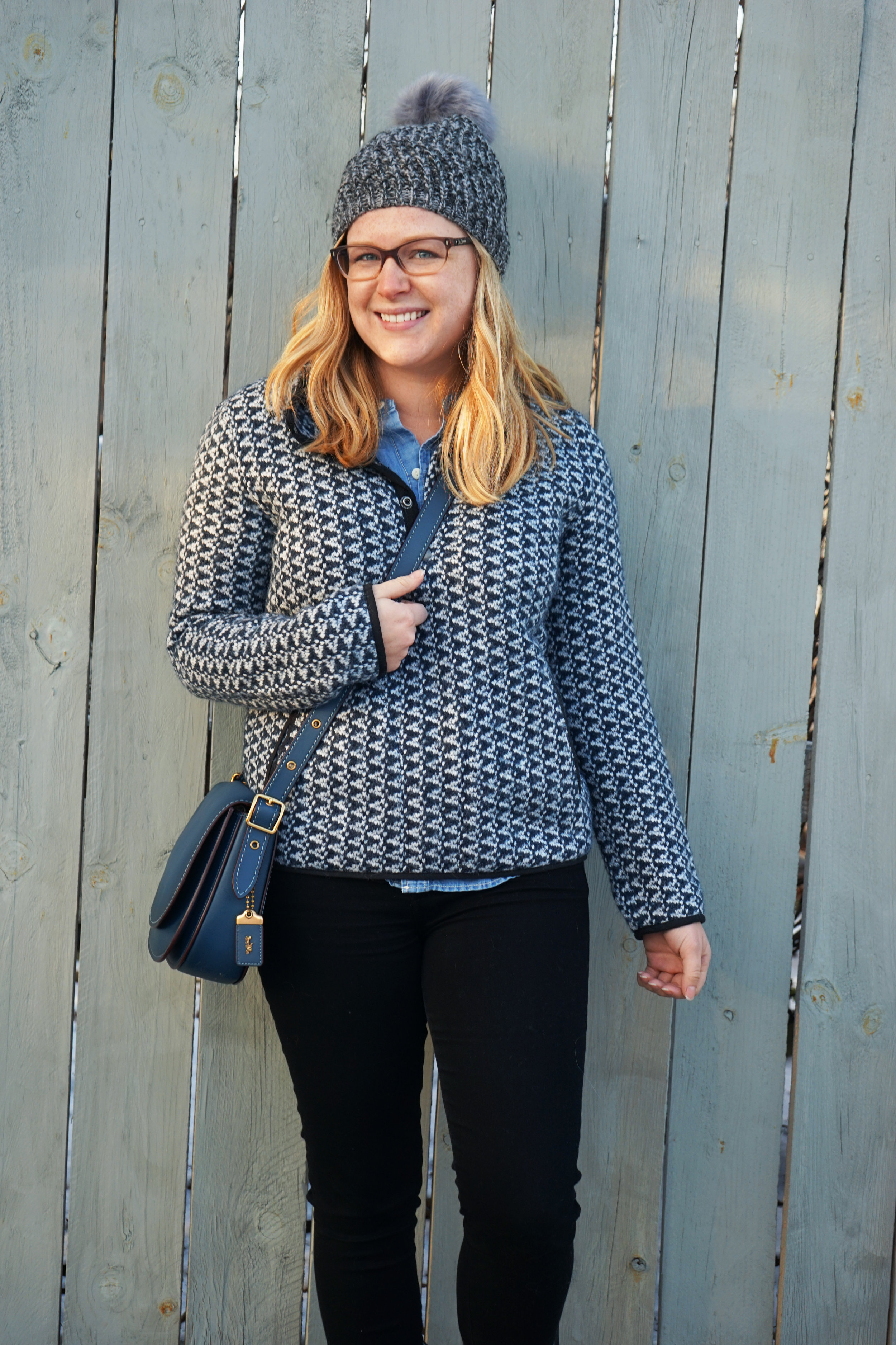 Maggie a la Mode - Madewell Harmonica Pullover, Madewell Perfect Chambray Sunday Shirt, Citizens of Humanity Rocket Jeans Axel, Free People Powder River Pom Beanie, Coach Saddle Bag 23