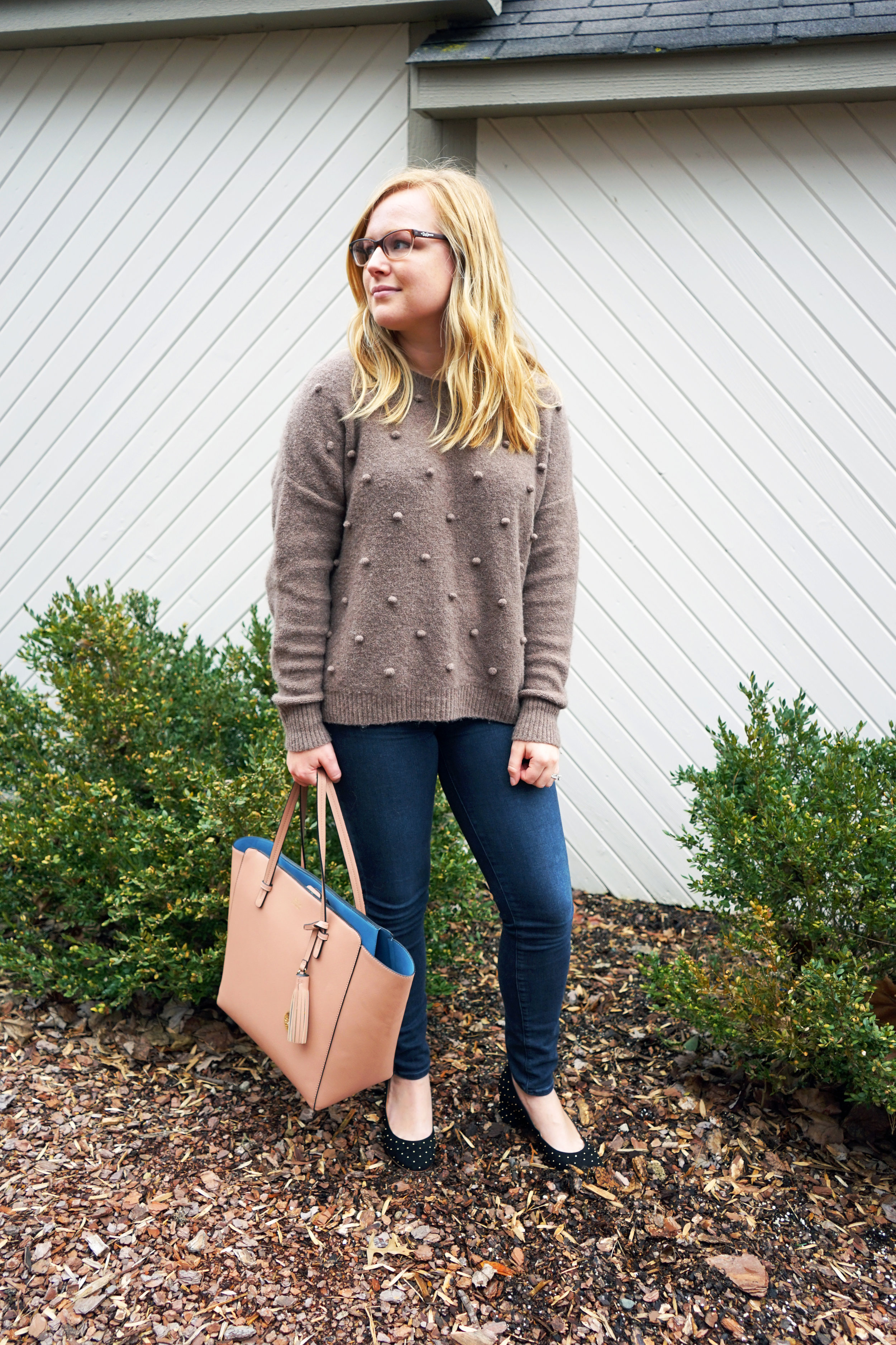 Maggie a la Mode - Madewell Bobble Pullover Sweater, Paige Denim Verdugo Skinny Jean Reed, Sezane Ashley Babies, Blue Les Copains tote