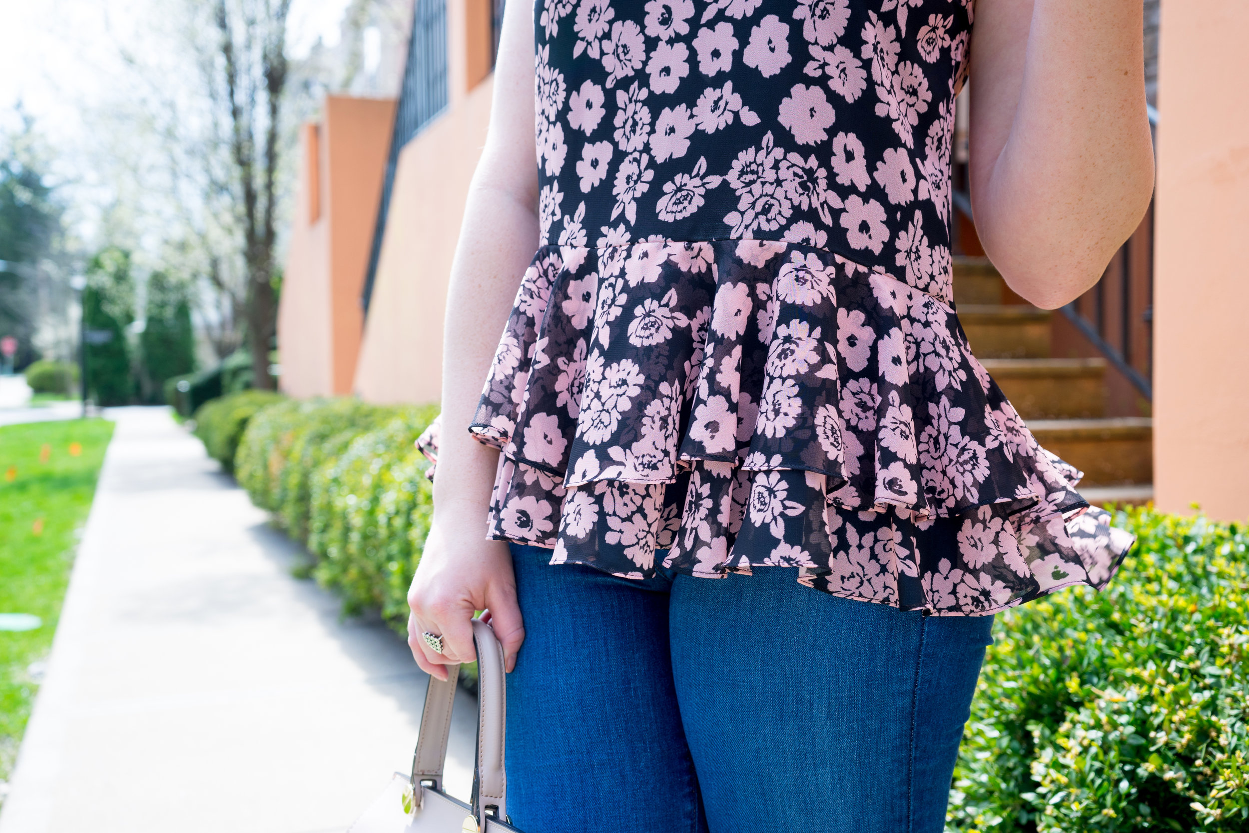Maggie a la Mode - Milly Floral Print Flare Tank, Loft Flared Jeans, Steve Madden Carrson sandal, Camelia Roma Leather Handbag