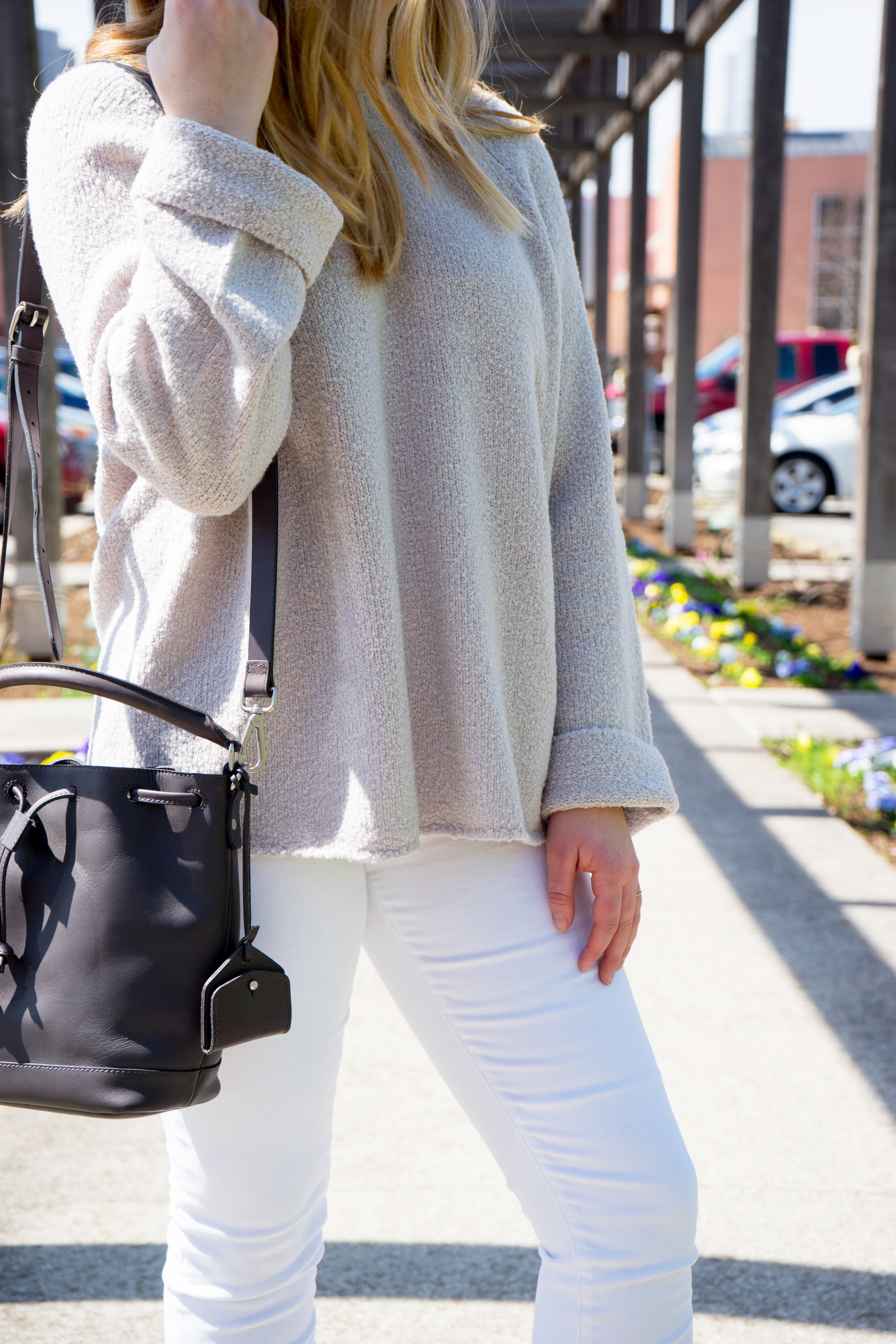 Maggie a la Mode - Vince Knit Crewneck Sweater Sand, Madewell white jeans, Steve Madden Shanna heels, Madewell Lafayette Bucket Bag