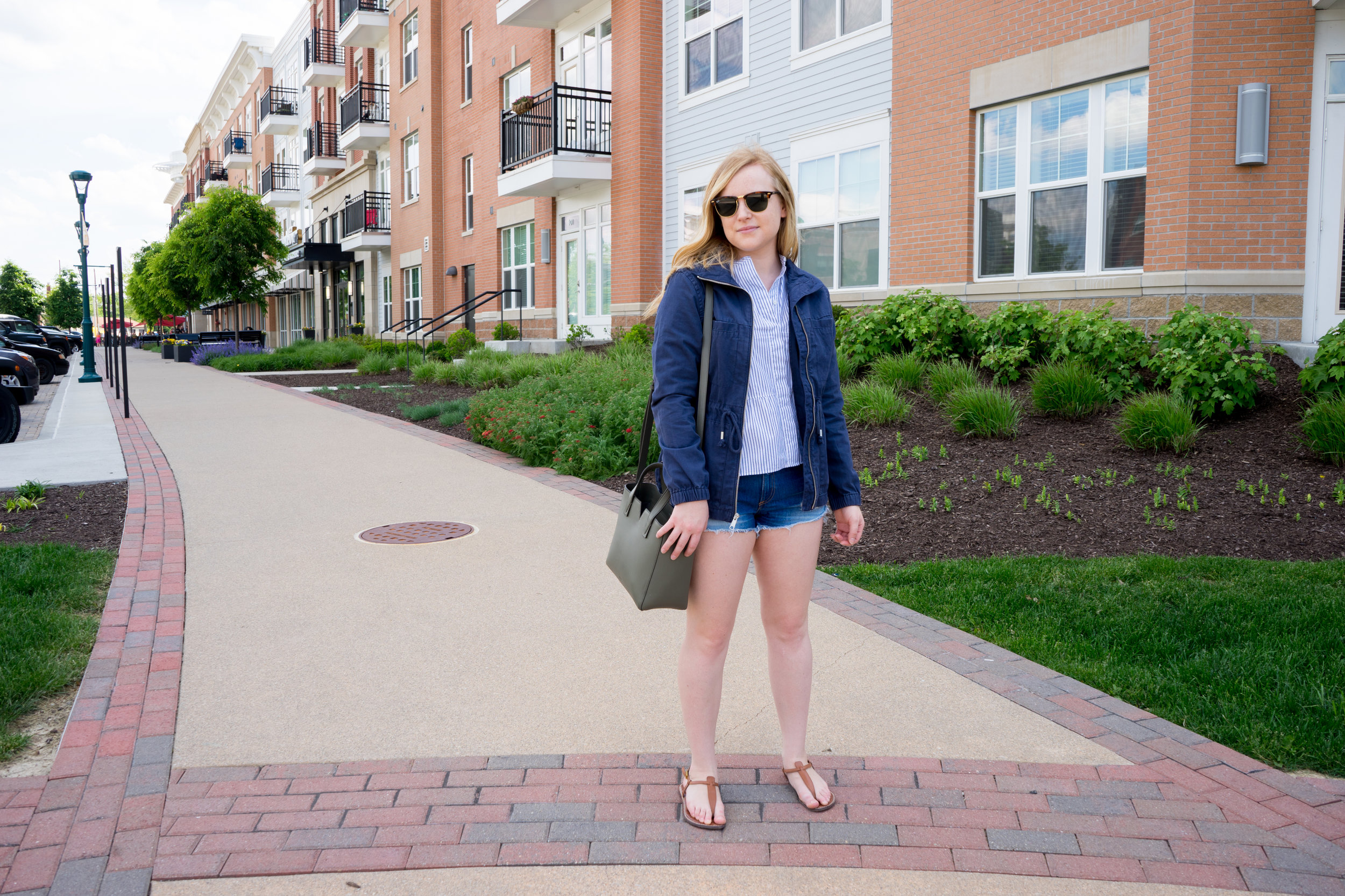 Maggie a la Mode - Old Navy Twill Field Jacket, Madewell Lakeside Peplum Shirt Stripe, Rag & Bone/JEAN The Cutoff Denim Shorts Freeport, Vince Signature Baby East-West Tote, Sam Edelmaln Gigi Sandals