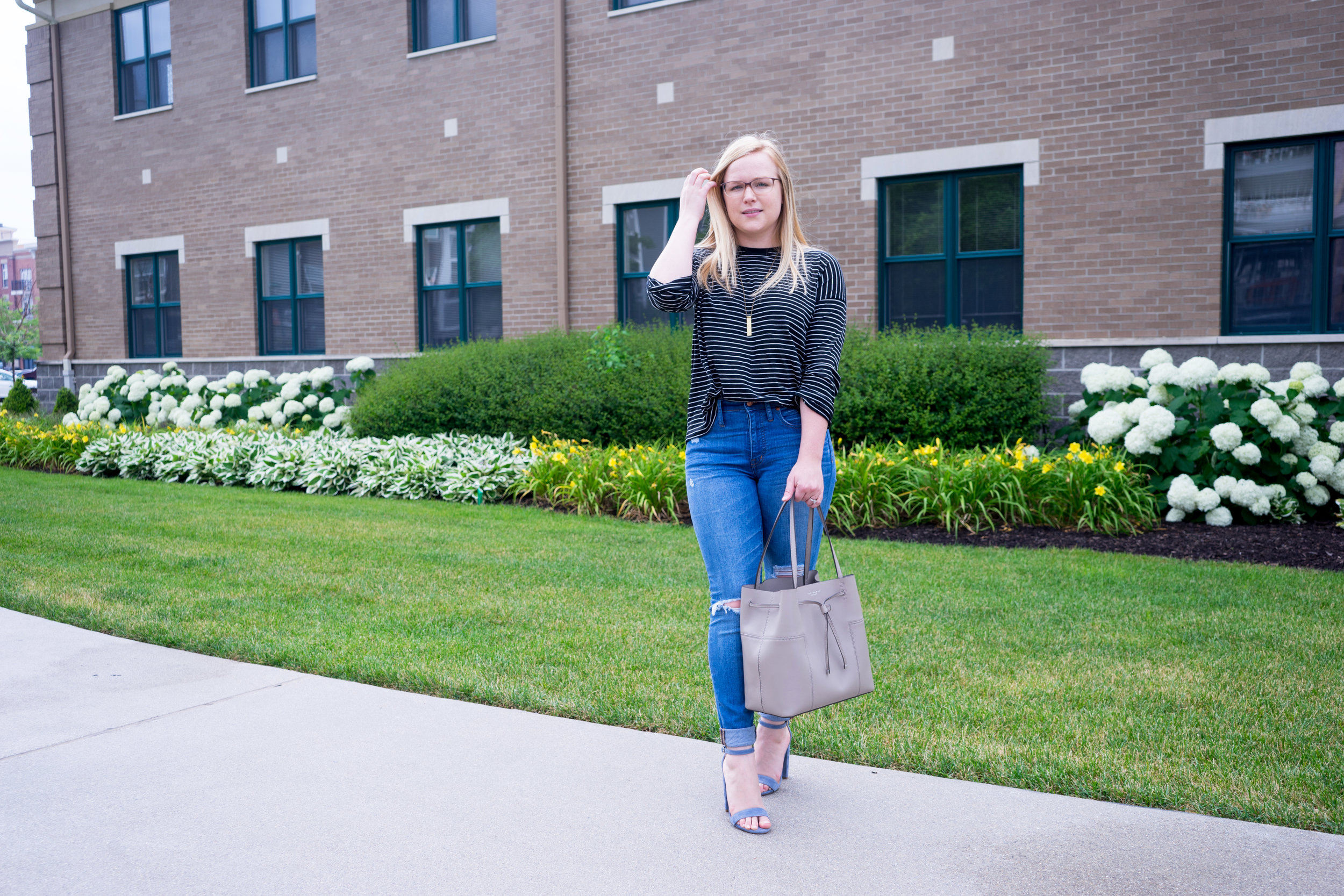 Maggie a la Mode - Tory Burch Block-T Bucket Bag, Vince Relaxed Striped T-Shirt, Madewell High-Rise Skinny Jeans Winifred Wash Drop Hem Edition, Steve Madden Carrson Heels