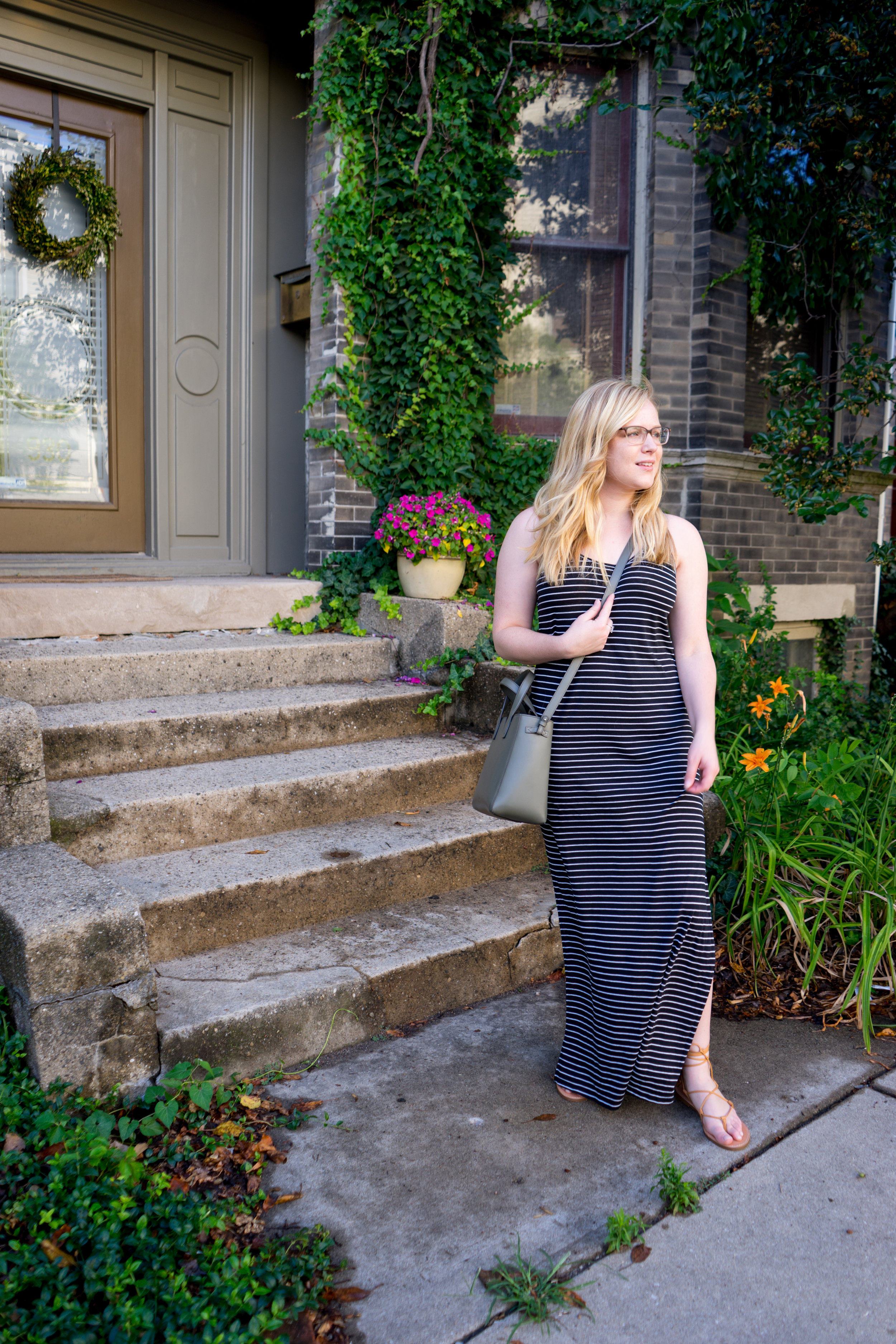 Maggie a la Mode - Ripcurl Surf Stripe Maxi Dress, Madewell Boardwalk Lace-Up Gladiator Sandals, Vince Signature Baby Leather East-West Tote