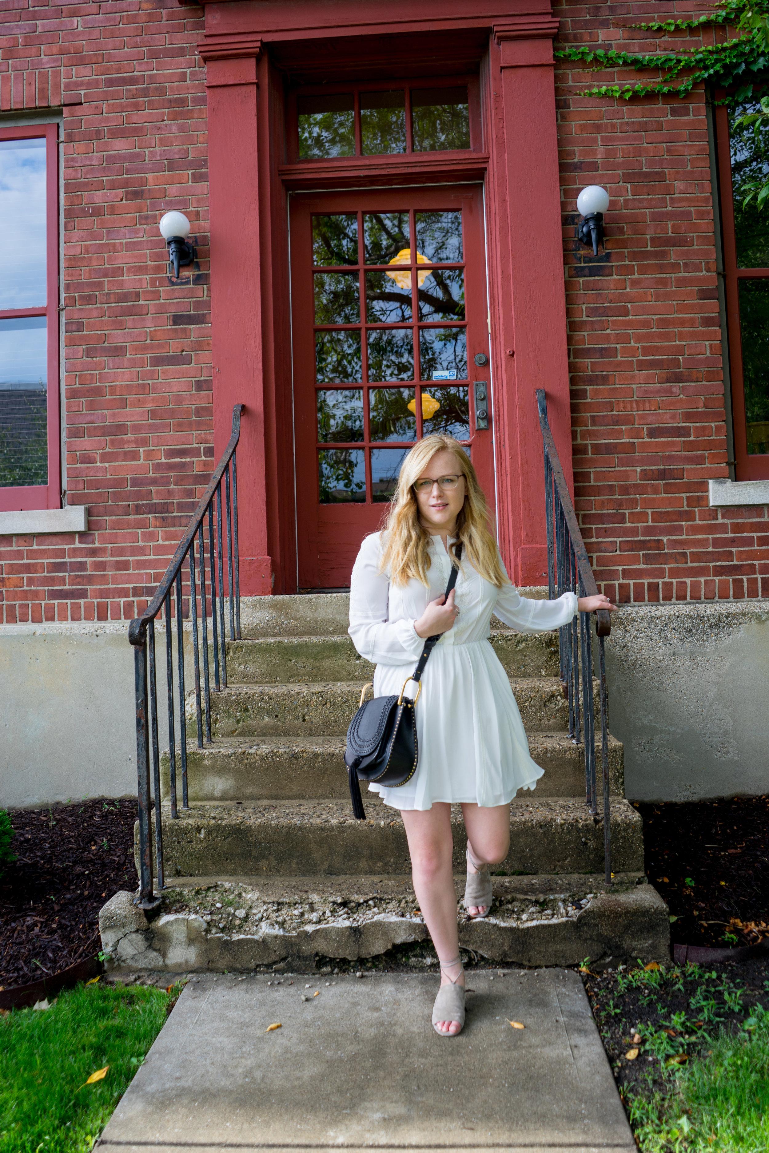 Maggie a la Mode - Chloe Hudson Tasseled Leather Crossbody Bag, Rebecca Minkoff Tammy Dress, Vince Damon Sandal