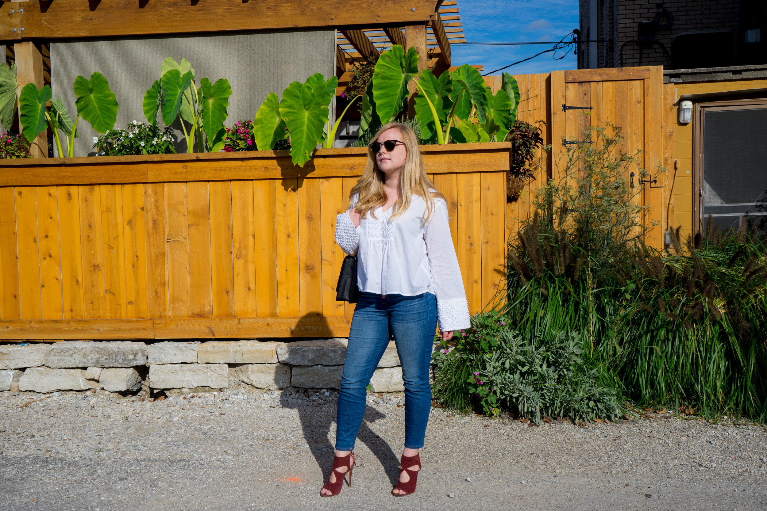 Maggie a la Mode - Kate Spade New York Devoe Street Sophie, Theory Matara Embroidered Cotton Blouse, J Crew toothpick jean Daly, Aquazzura Sexy Thing, Ray Ban Clubmaster