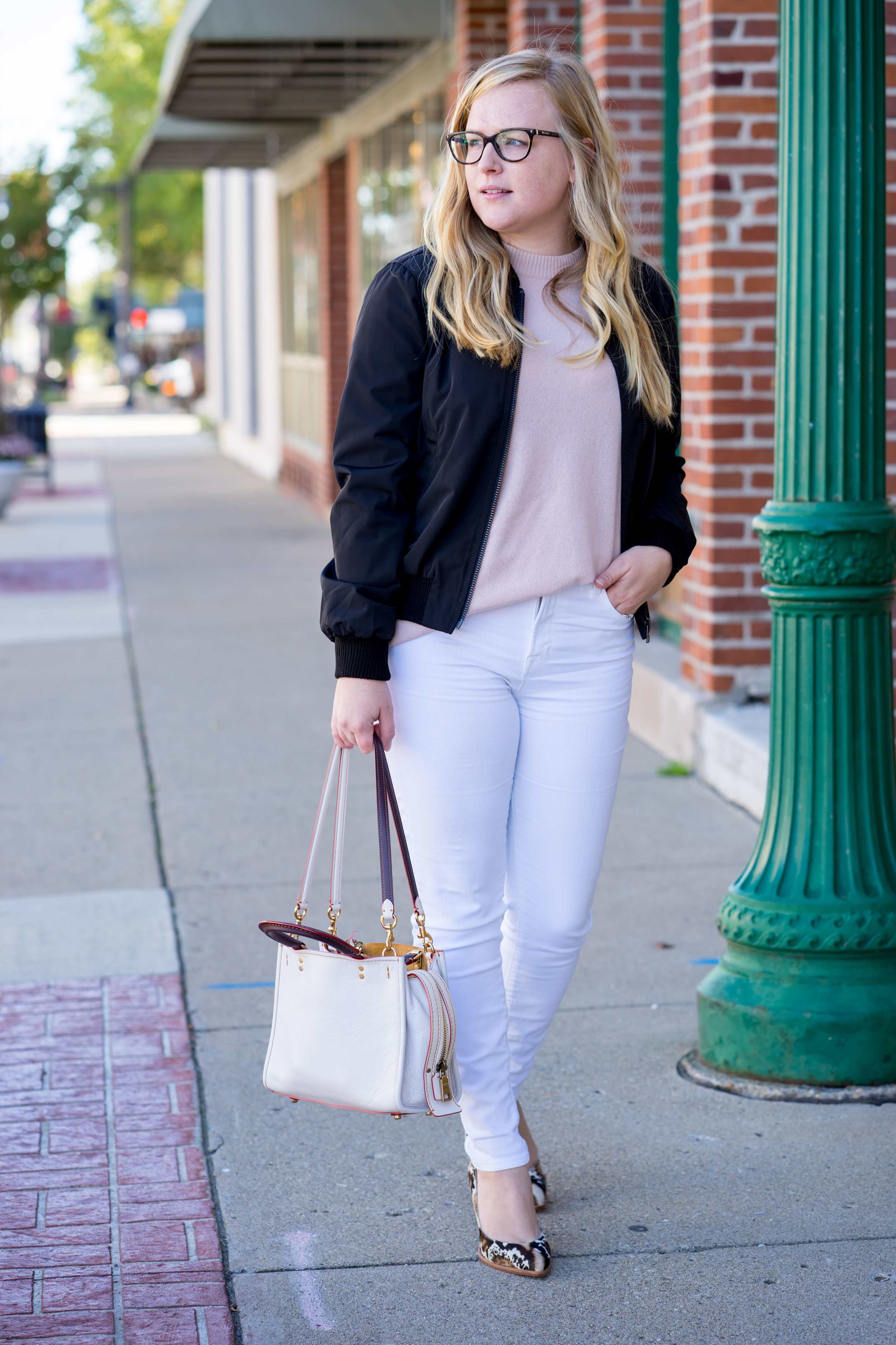 Maggie a la Mode - Madewell Side-Zip Bomber Jacket, Equipment Bryce Cashmere Sweater, J Brand High Rise Alana Crop White Jeans, Loeffler Randall Remy Phython Block Heels, Coach Rogue 25
