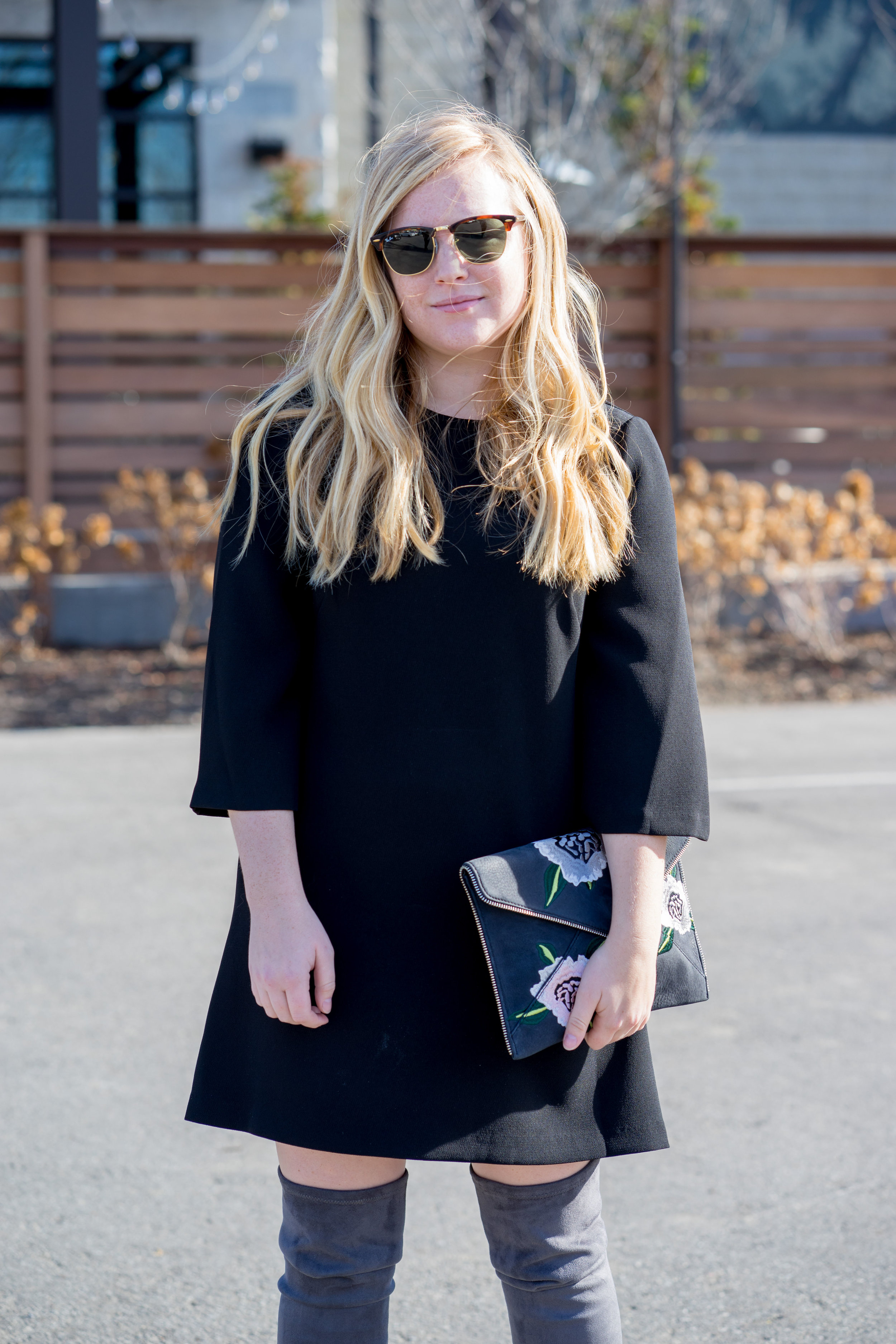 Maggie a la Mode - Steve Madden Isaac Over the Knee Boots, BCBGeneration Black Shift dress, Rebecca Minkoff Leo Nubuck Floral Clutch, Ray Ban Clubmaster sunglasses