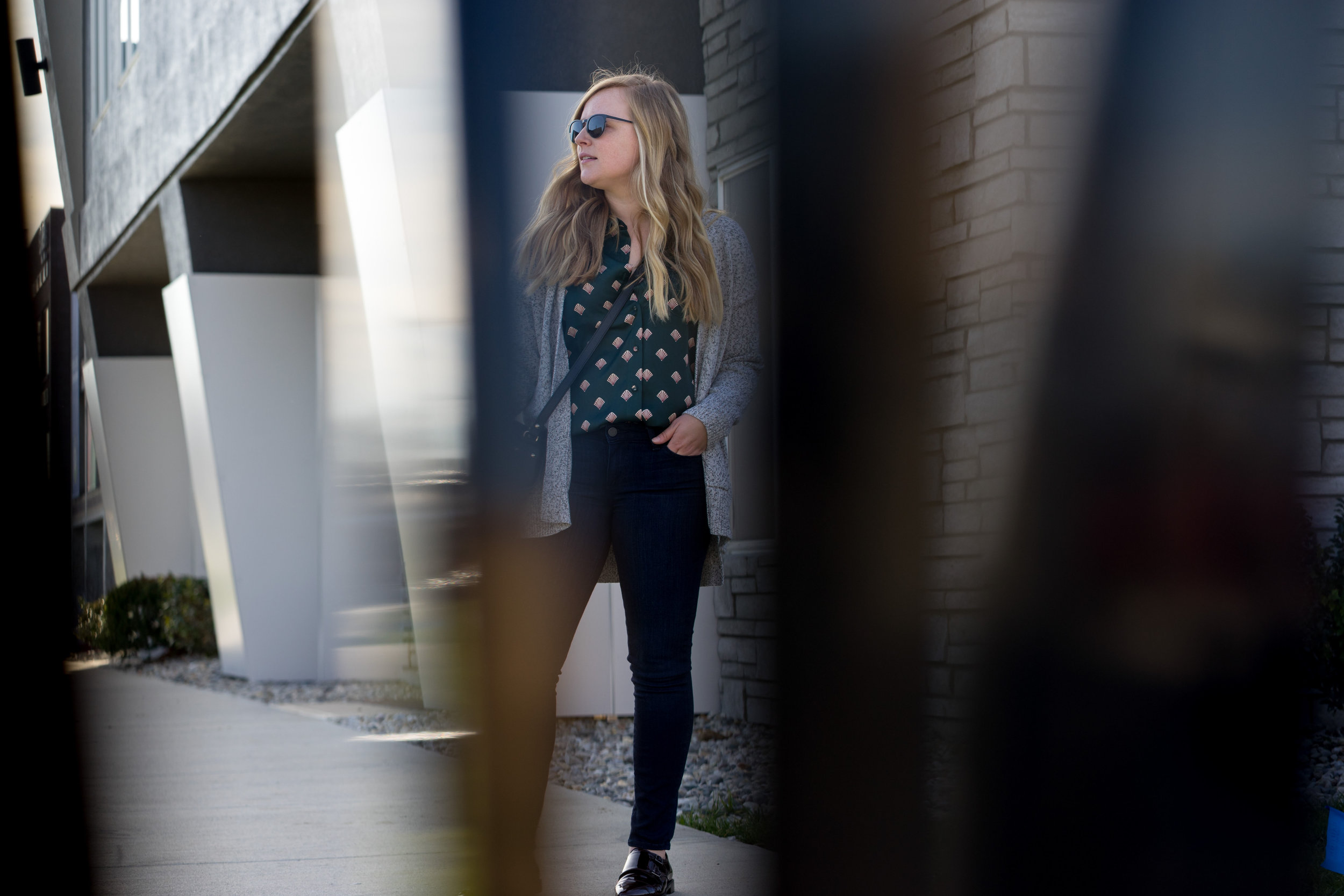 Maggie a la Mode - L'Academie The Classic Shell Print Shirt, Madewell Midland Cardigan Sweater, Paige Verdugo Transcend Ankle Jeans Mae, APC Half Moon Bag, Aquatalia Harlow Monk Strap Loafers