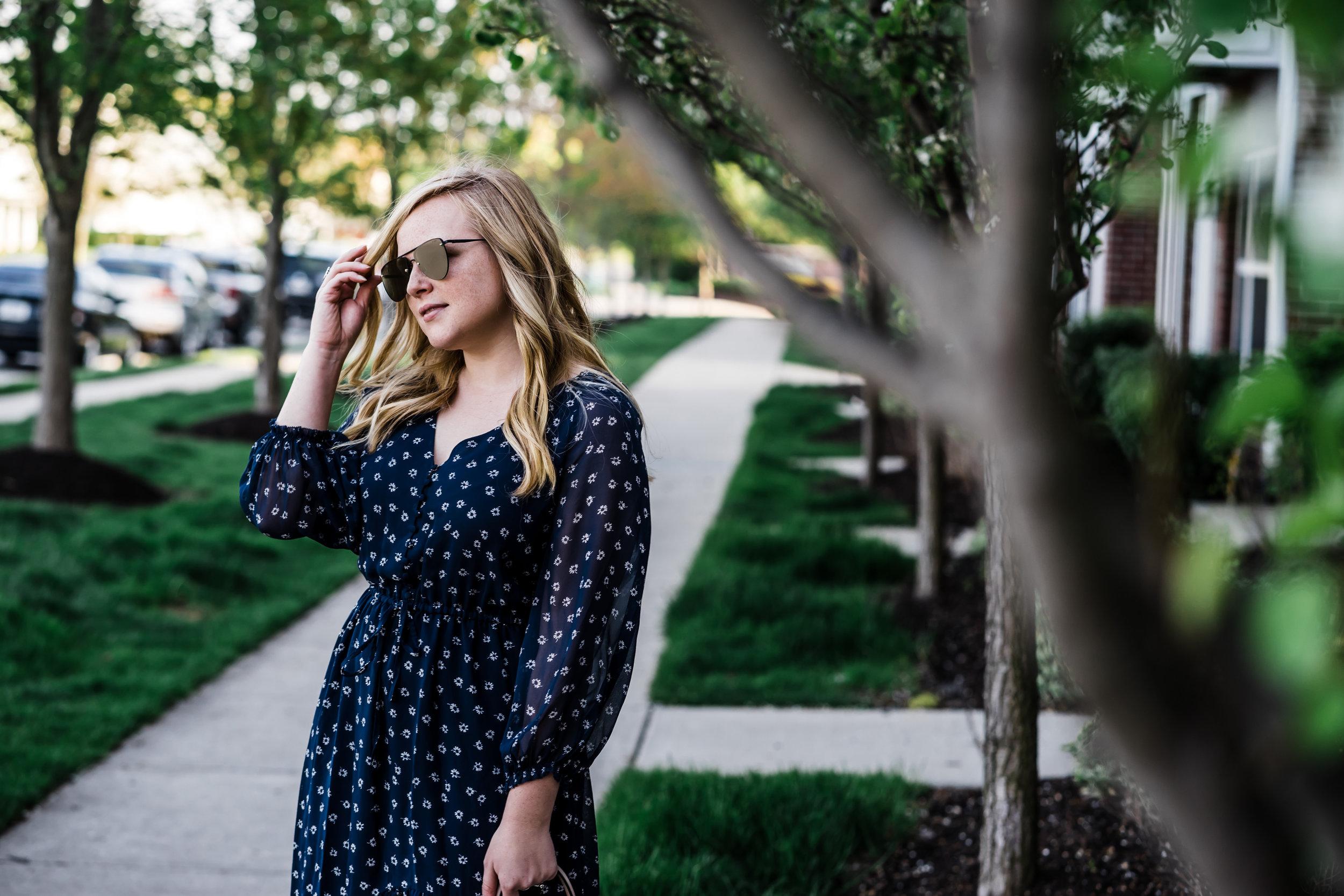 Maggie a la Mode - How to Wear Midi Dresses, Affordable Midi Dresses, Joie Alithea Dress, Loeffler Randall Langley Ruffle Mules, Le Specs The Prince Mirrored Sunglasses, Camelia Roma Leather Satchel