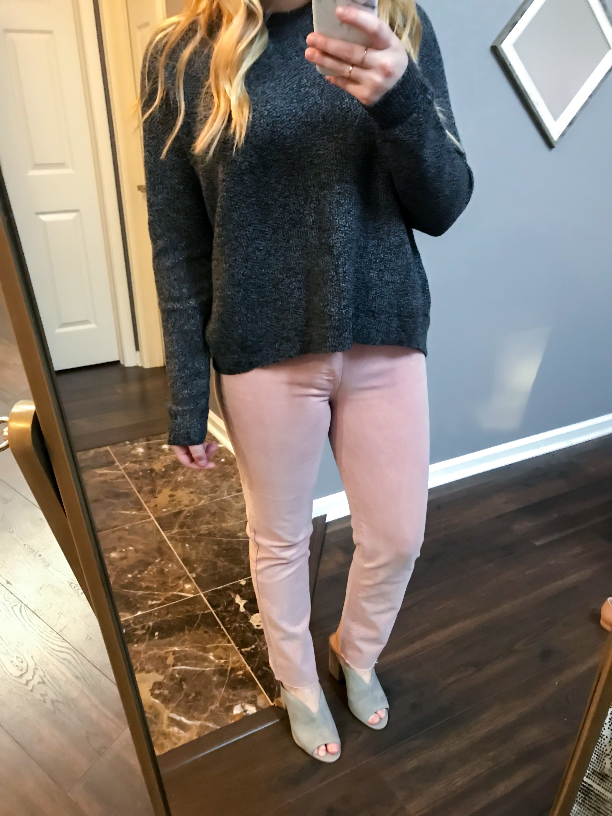 Maggie a la Mode Nordstrom Anniversary Sale 2018 Paige Hoxton High Waist Straight Ankle Raw Hem Jeans, Madewell Province Cross Back Knit Pullover, BP Tonya Open Toe Mule